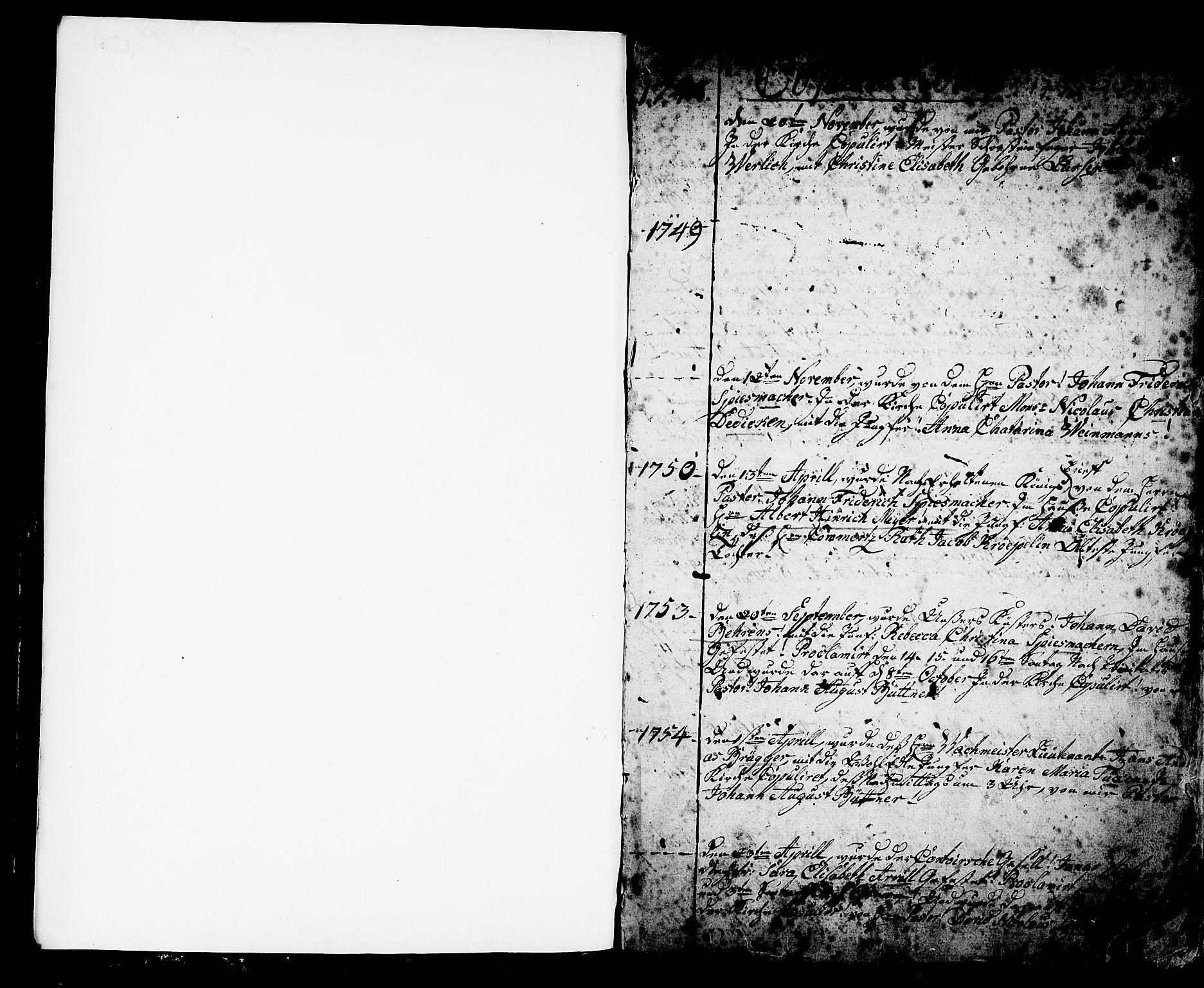 SAB, Mariakirken Sokneprestembete, H/Haa/L0002: Ministerialbok nr. A 2, 1748-1807, s. 1