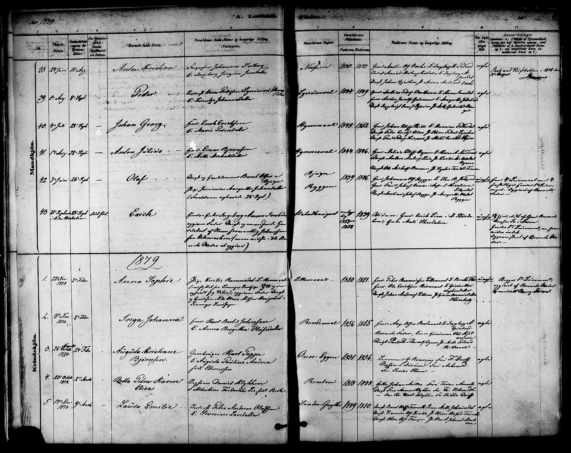 SAT, Ministerialprotokoller, klokkerbøker og fødselsregistre - Nord-Trøndelag, 717/L0159: Ministerialbok nr. 717A09, 1878-1898, s. 6