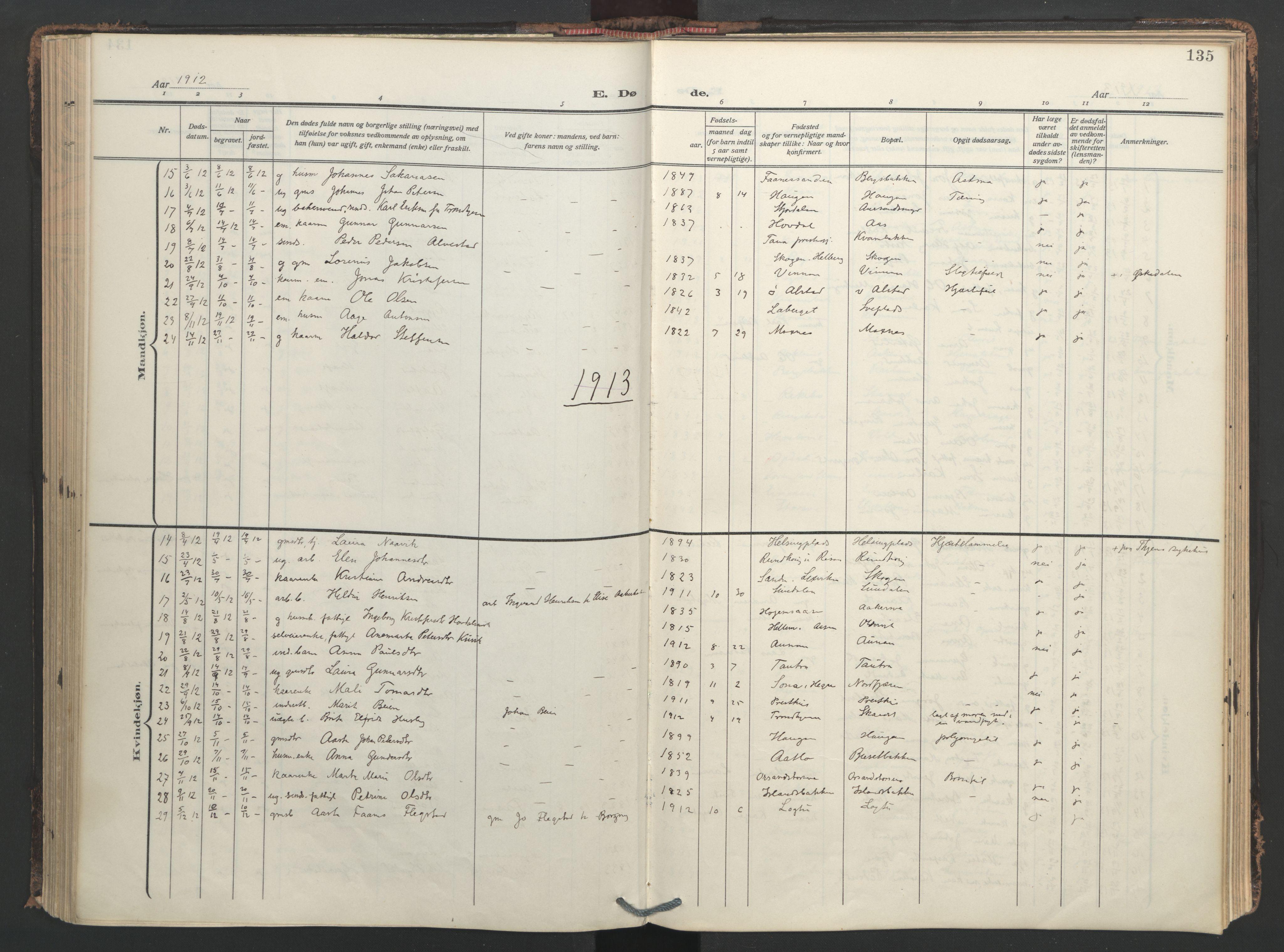SAT, Ministerialprotokoller, klokkerbøker og fødselsregistre - Nord-Trøndelag, 713/L0123: Ministerialbok nr. 713A12, 1911-1925, s. 135