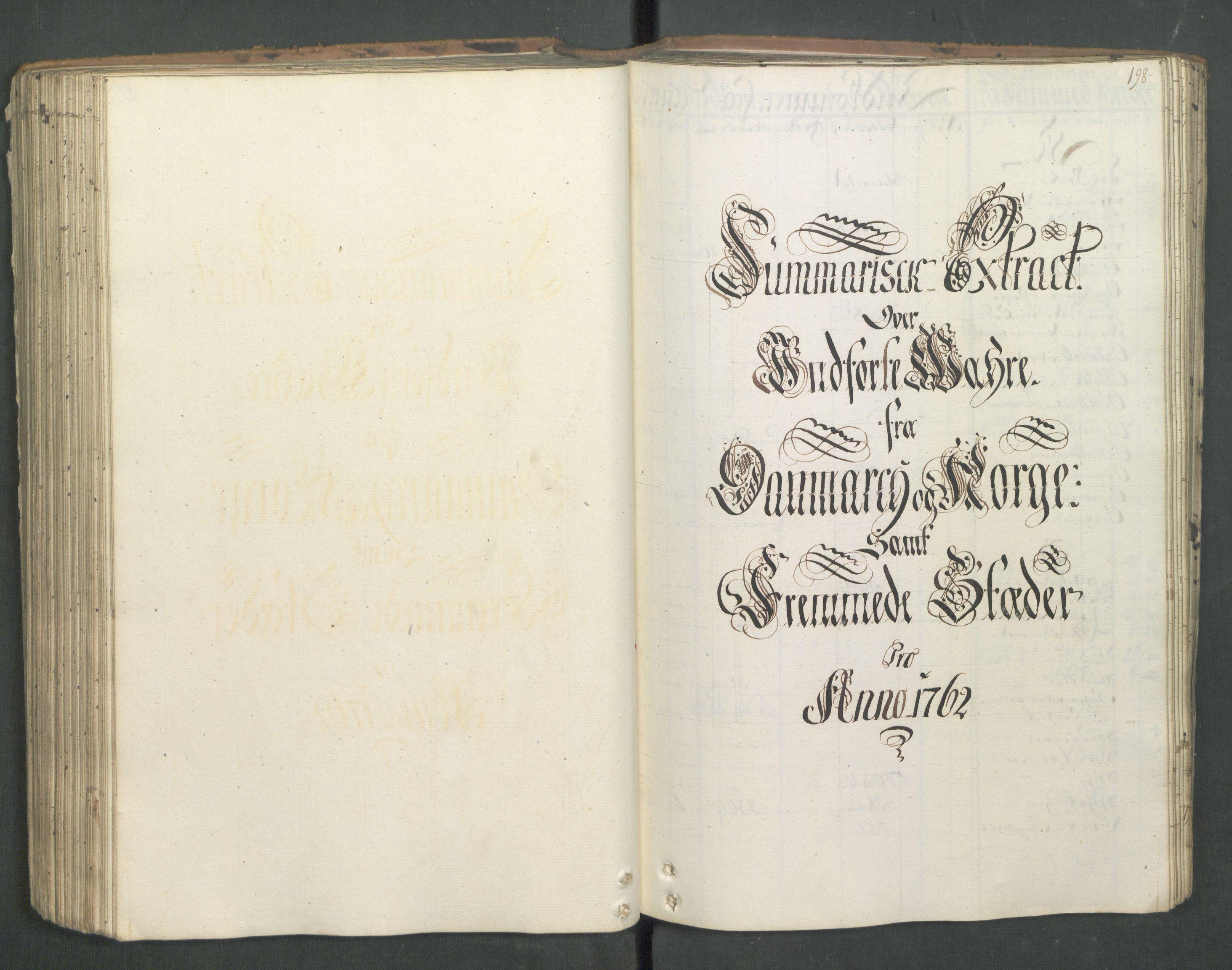 RA, Generaltollkammeret, tollregnskaper, R01/L0046: Tollregnskaper Fredrikshald, 1762, s. 197b-198a