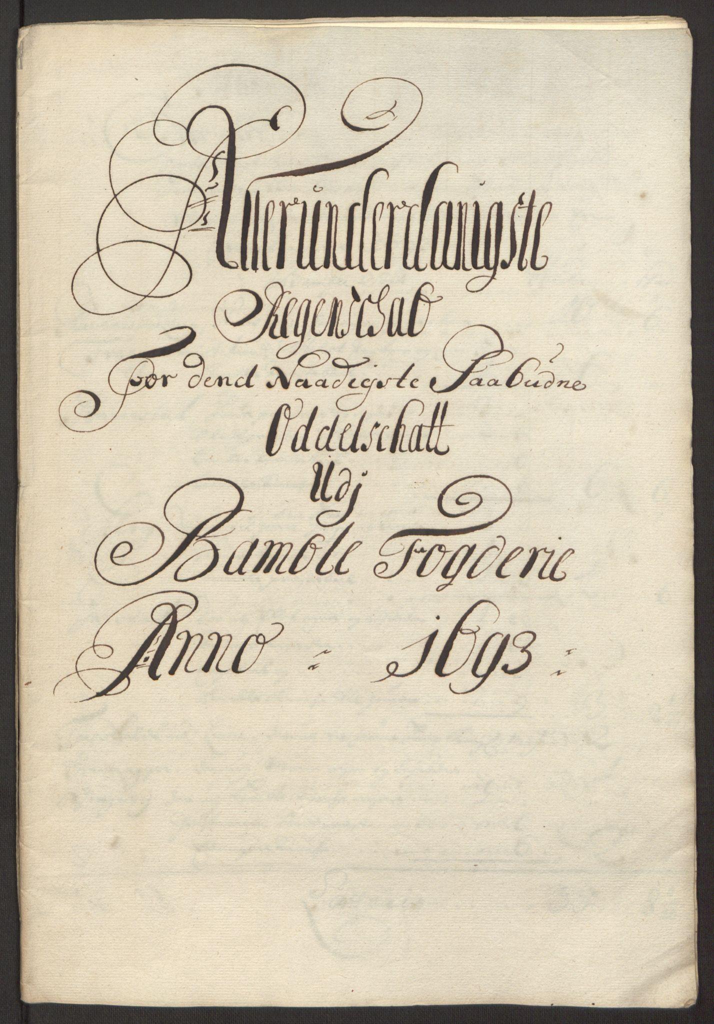 RA, Rentekammeret inntil 1814, Reviderte regnskaper, Fogderegnskap, R34/L2052: Fogderegnskap Bamble, 1692-1693, s. 325