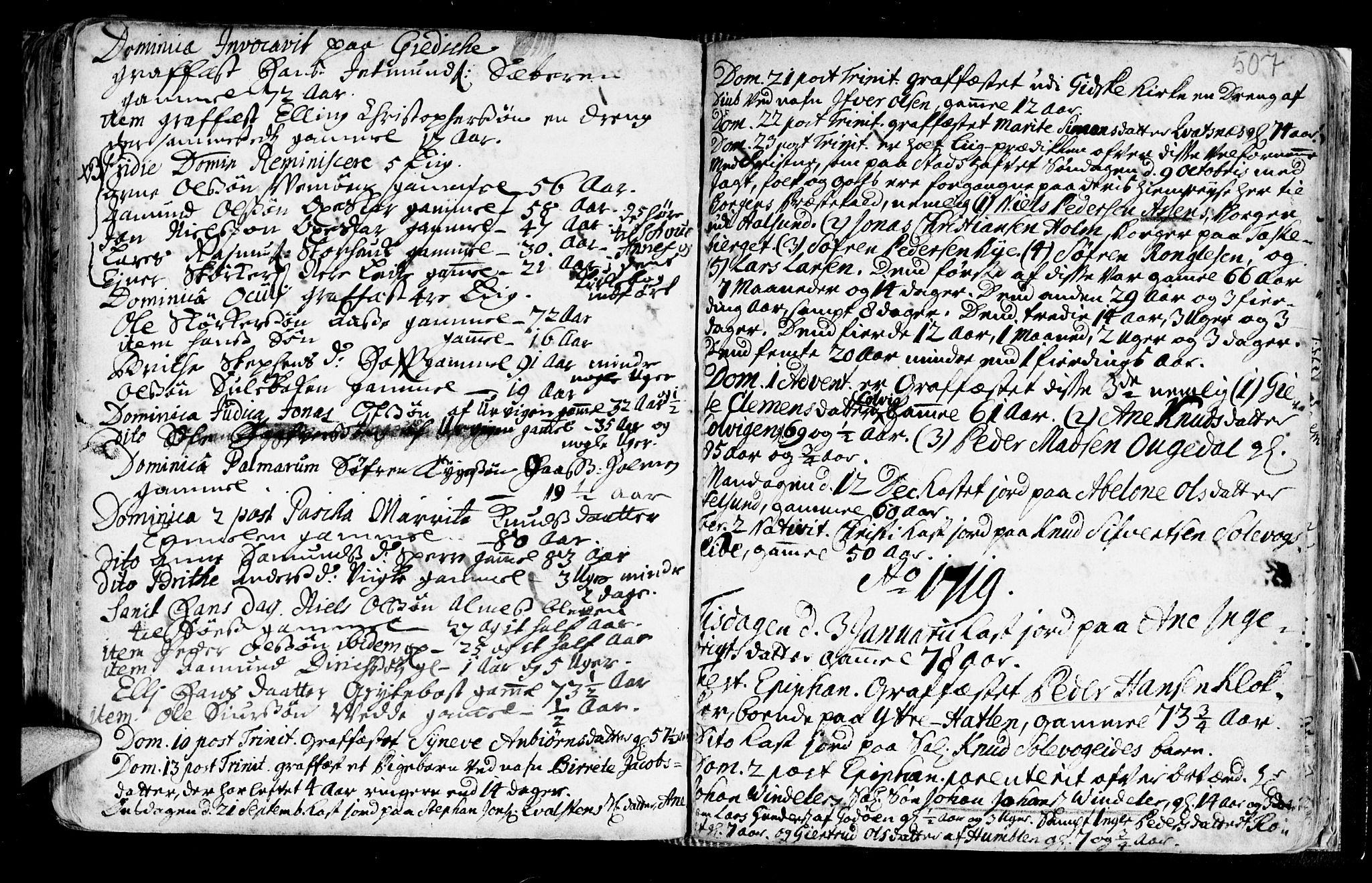 SAT, Ministerialprotokoller, klokkerbøker og fødselsregistre - Møre og Romsdal, 528/L0390: Ministerialbok nr. 528A01, 1698-1739, s. 506-507
