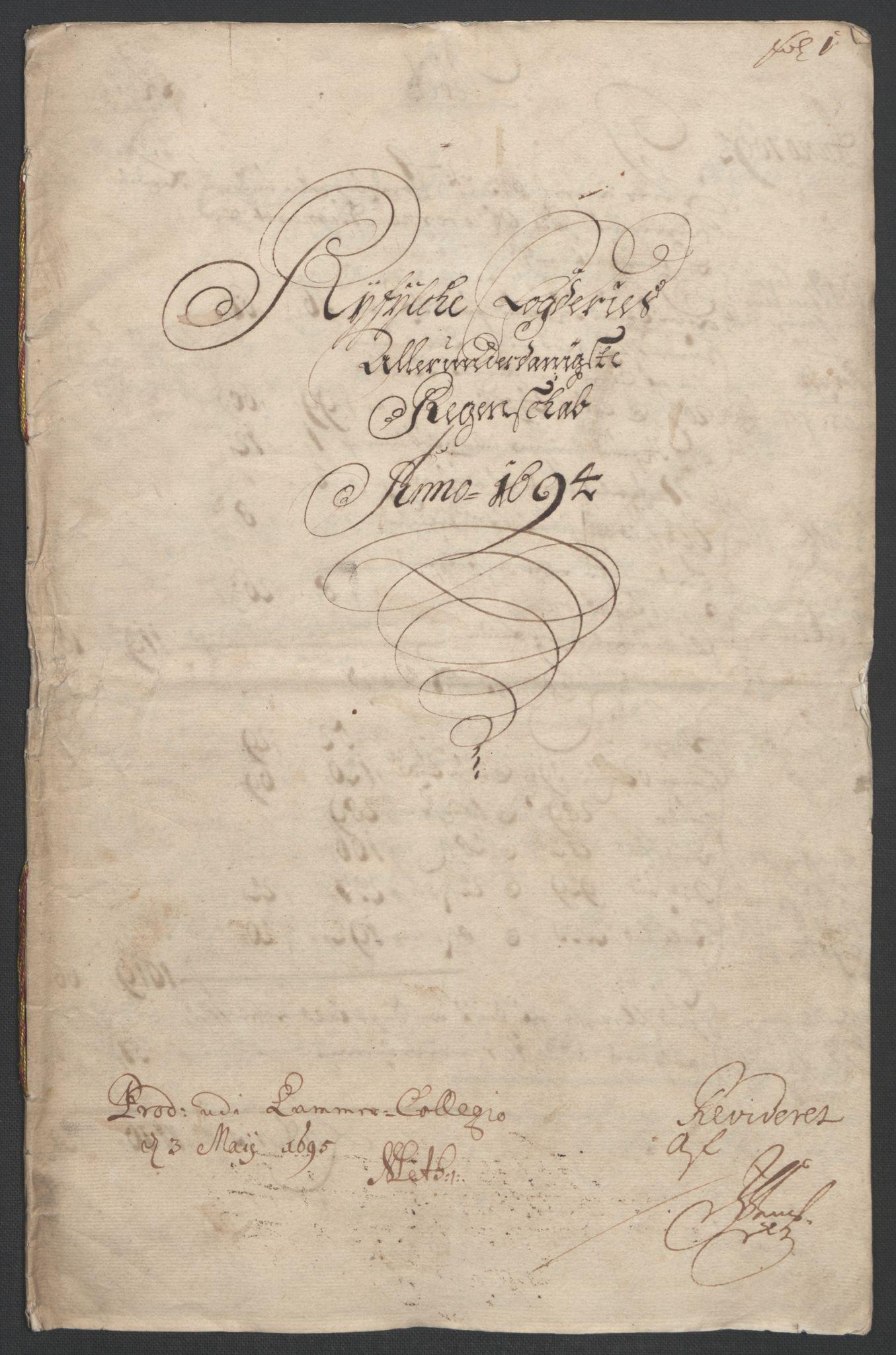 RA, Rentekammeret inntil 1814, Reviderte regnskaper, Fogderegnskap, R47/L2857: Fogderegnskap Ryfylke, 1694-1696, s. 4