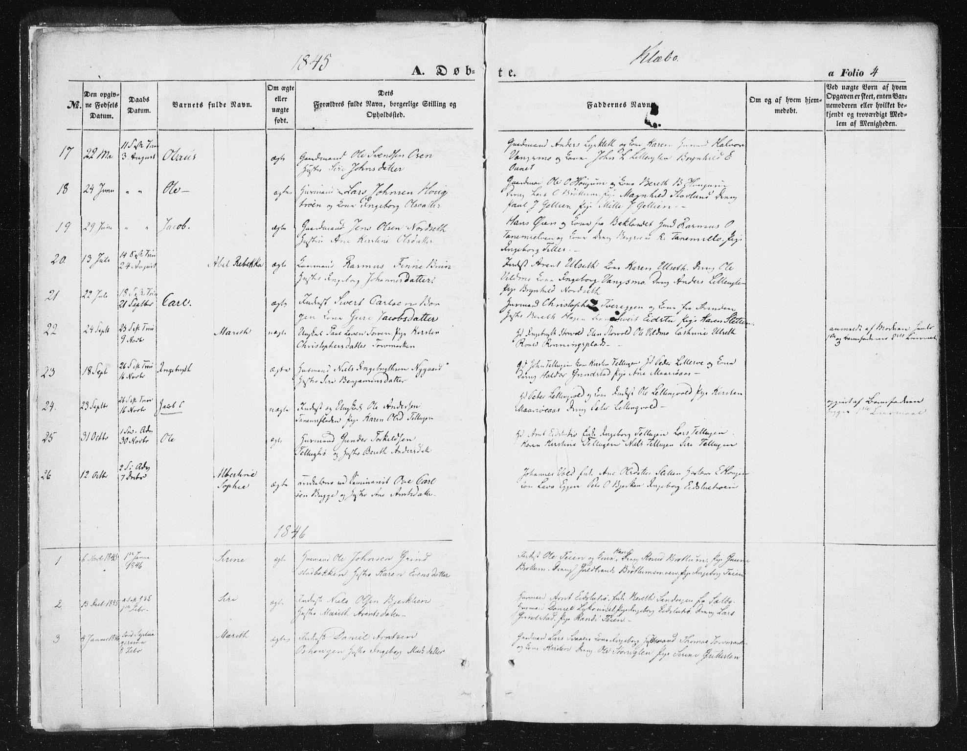 SAT, Ministerialprotokoller, klokkerbøker og fødselsregistre - Sør-Trøndelag, 618/L0441: Ministerialbok nr. 618A05, 1843-1862, s. 4