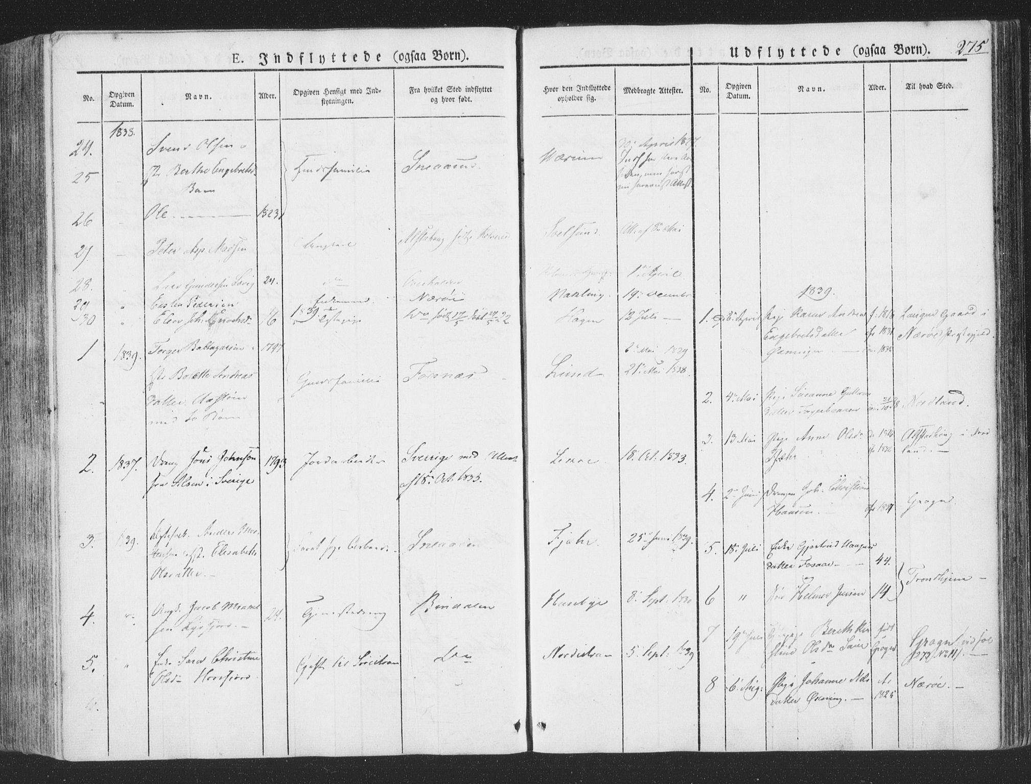SAT, Ministerialprotokoller, klokkerbøker og fødselsregistre - Nord-Trøndelag, 780/L0639: Ministerialbok nr. 780A04, 1830-1844, s. 275