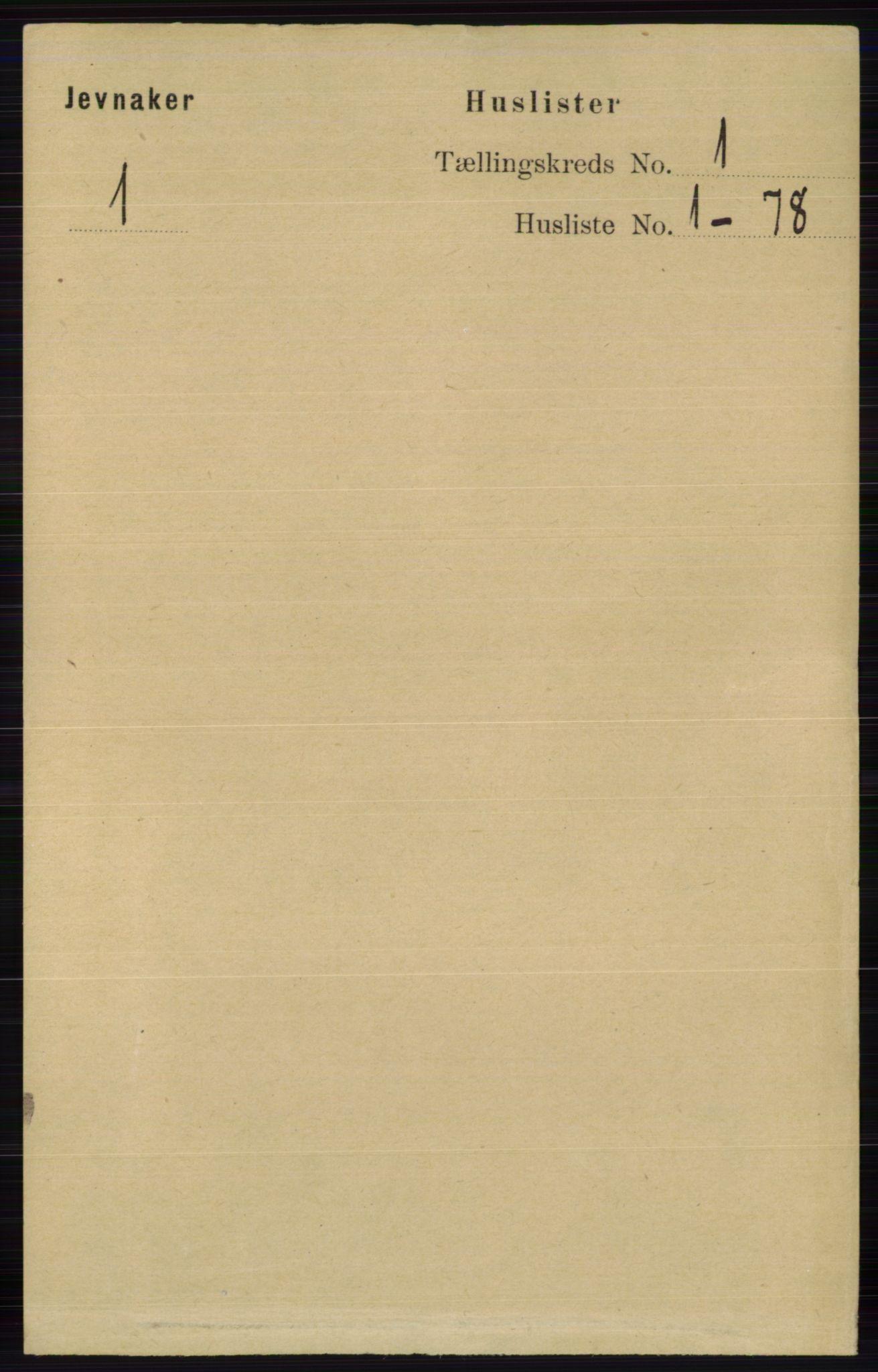 RA, Folketelling 1891 for 0532 Jevnaker herred, 1891, s. 33