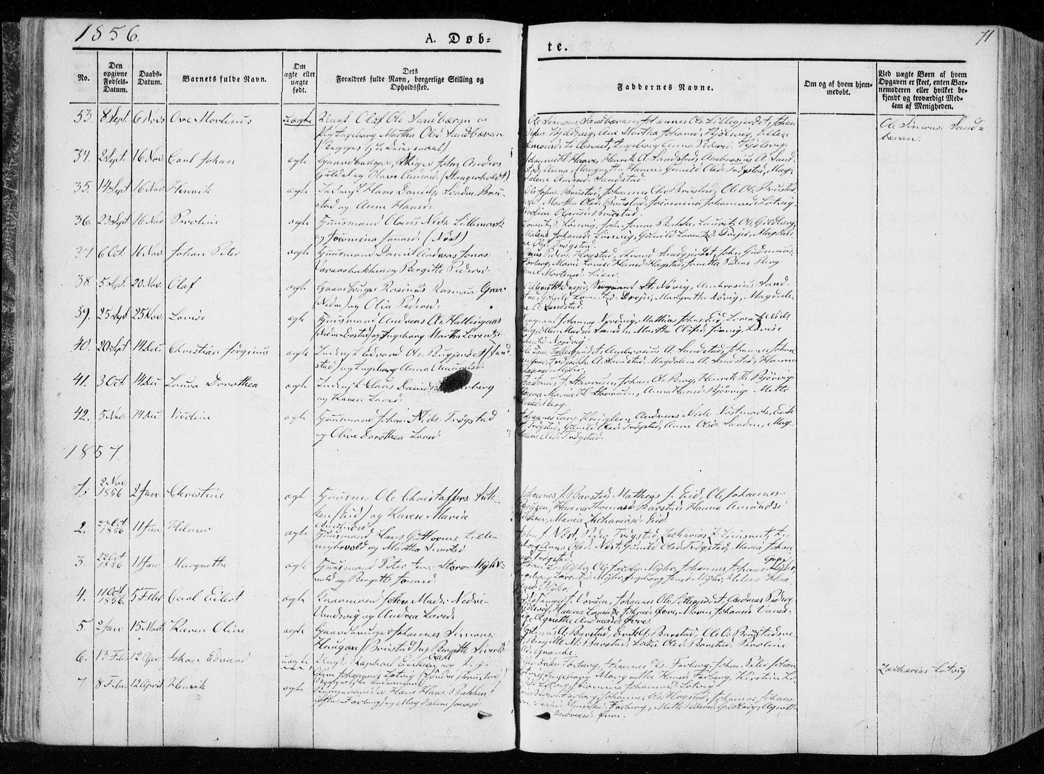 SAT, Ministerialprotokoller, klokkerbøker og fødselsregistre - Nord-Trøndelag, 722/L0218: Ministerialbok nr. 722A05, 1843-1868, s. 71