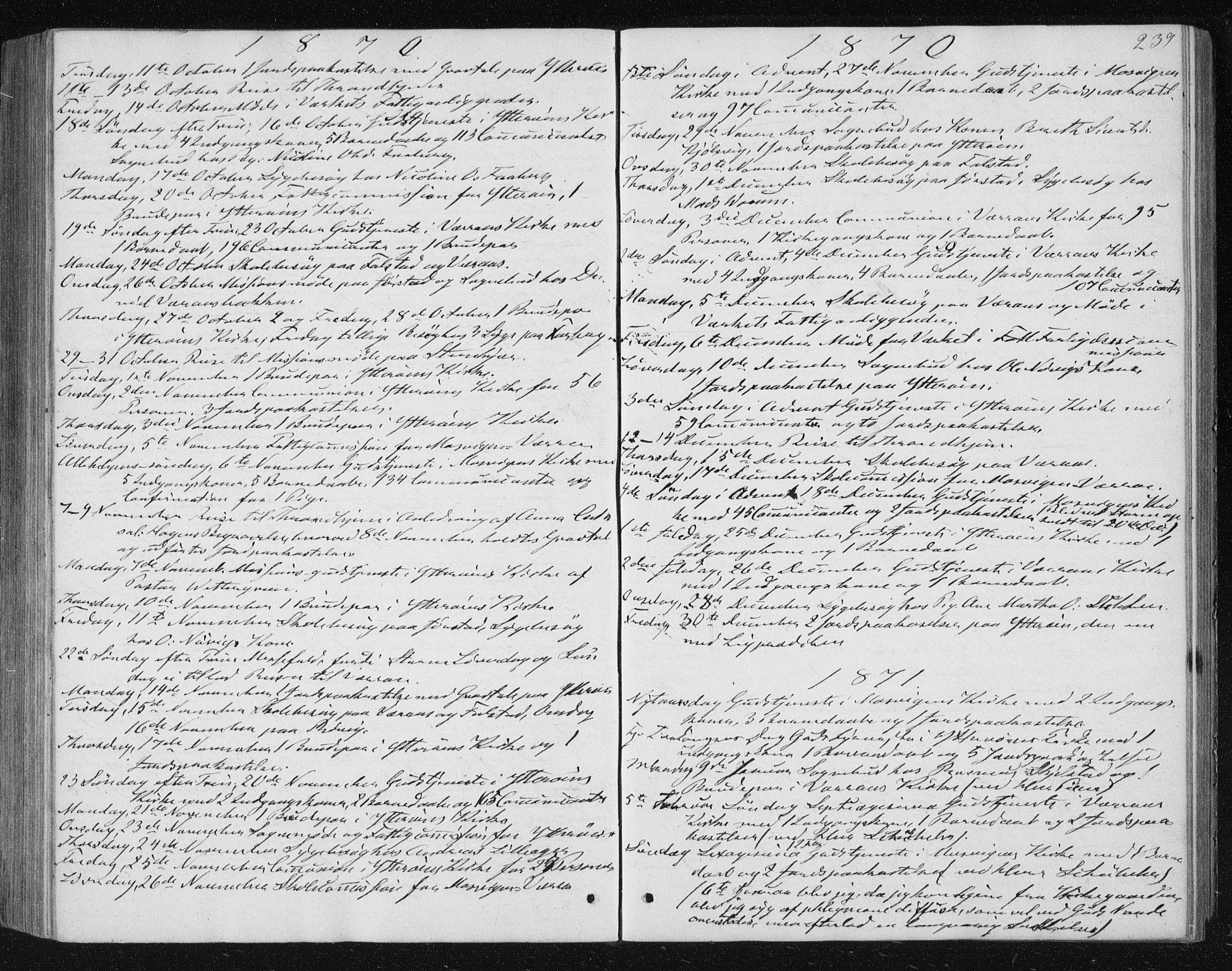 SAT, Ministerialprotokoller, klokkerbøker og fødselsregistre - Nord-Trøndelag, 722/L0219: Ministerialbok nr. 722A06, 1868-1880, s. 239