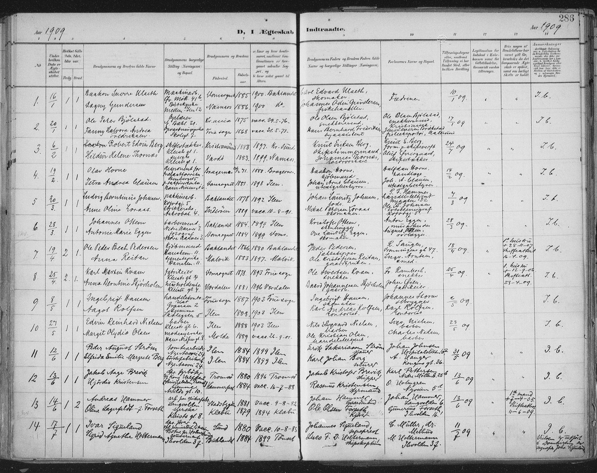 SAT, Ministerialprotokoller, klokkerbøker og fødselsregistre - Sør-Trøndelag, 603/L0167: Ministerialbok nr. 603A06, 1896-1932, s. 286