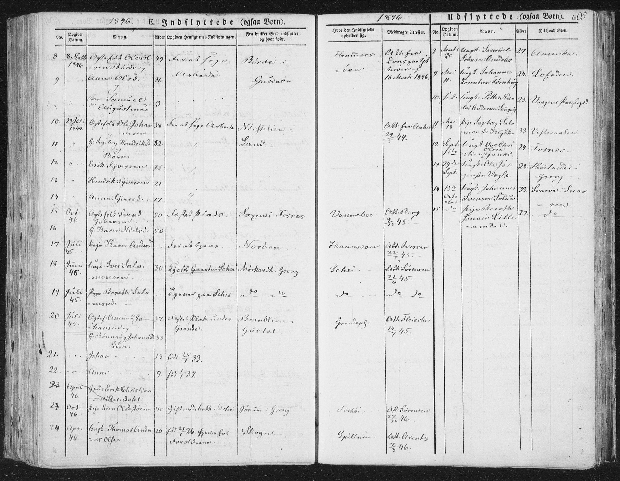 SAT, Ministerialprotokoller, klokkerbøker og fødselsregistre - Nord-Trøndelag, 764/L0552: Ministerialbok nr. 764A07b, 1824-1865, s. 605