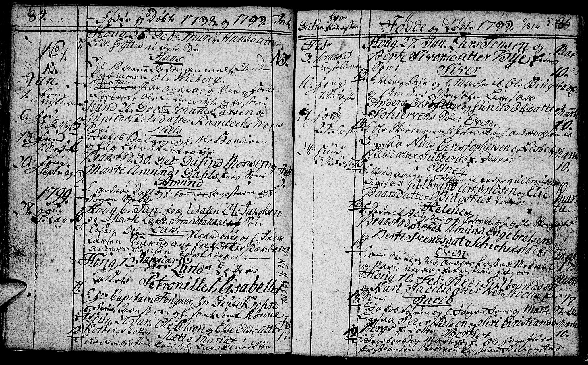 SAH, Vardal prestekontor, H/Ha/Hab/L0002: Klokkerbok nr. 2, 1790-1803, s. 84-85