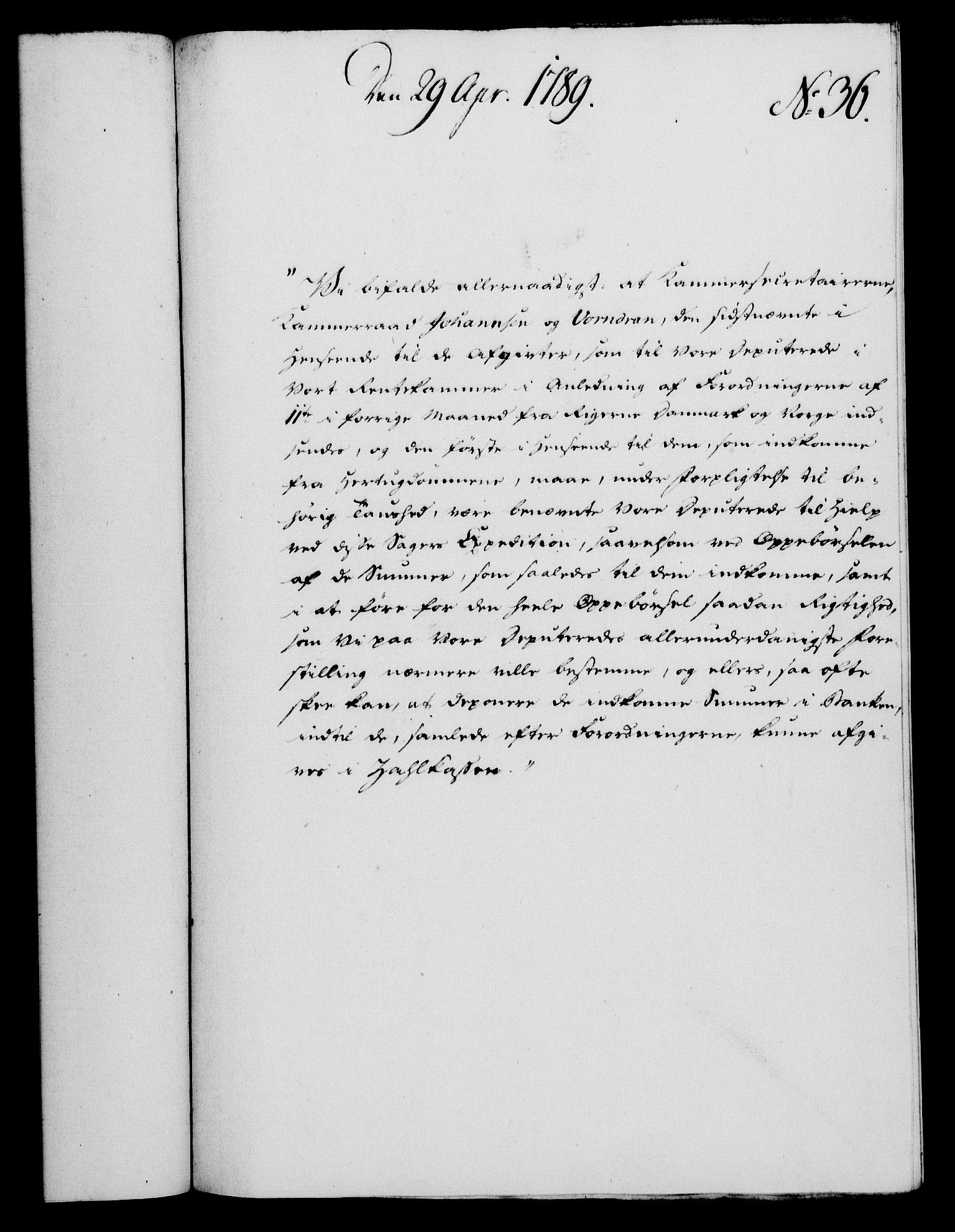 RA, Rentekammeret, Kammerkanselliet, G/Gf/Gfa/L0071: Norsk relasjons- og resolusjonsprotokoll (merket RK 52.71), 1789, s. 274