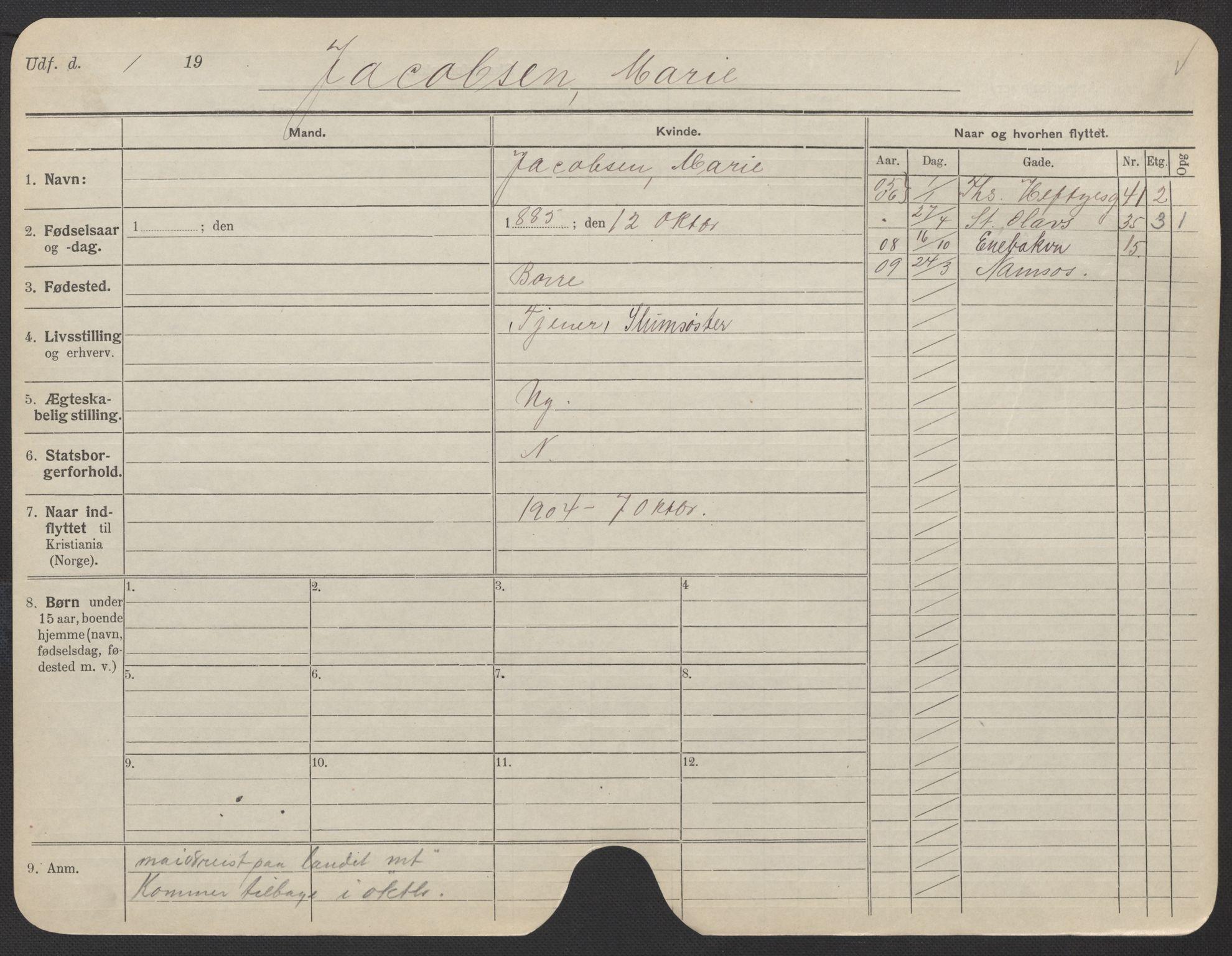 SAO, Oslo folkeregister, Registerkort, F/Fa/Fac/L0017: Kvinner, 1906-1914, s. 251a