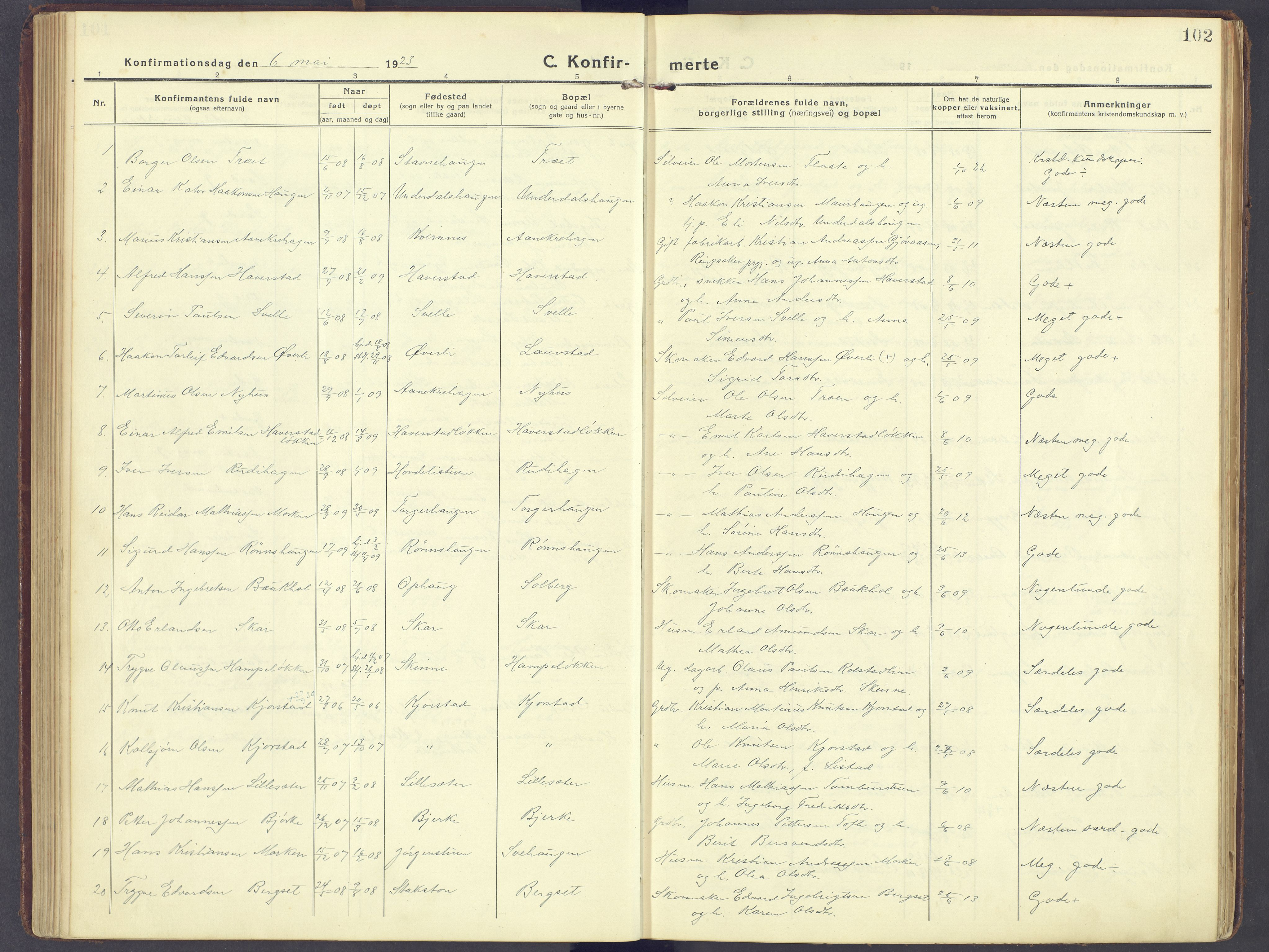 SAH, Sør-Fron prestekontor, H/Ha/Haa/L0005: Ministerialbok nr. 5, 1920-1933, s. 102