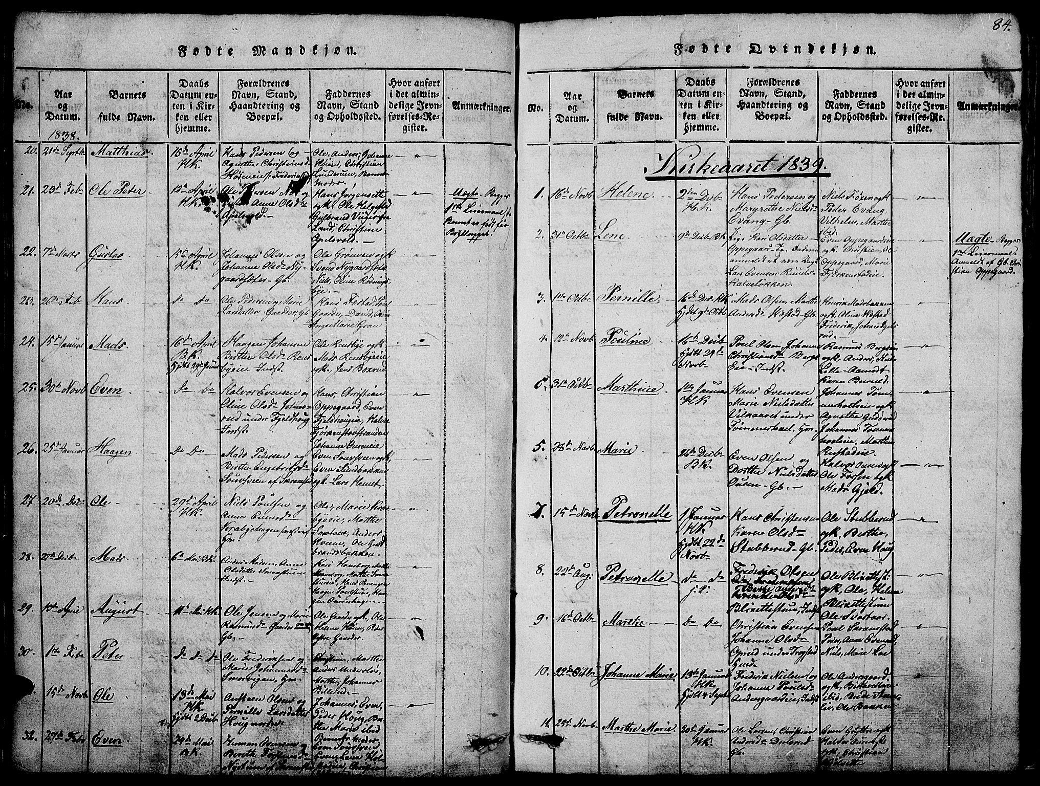 SAH, Østre Toten prestekontor, Klokkerbok nr. 1, 1827-1839, s. 84
