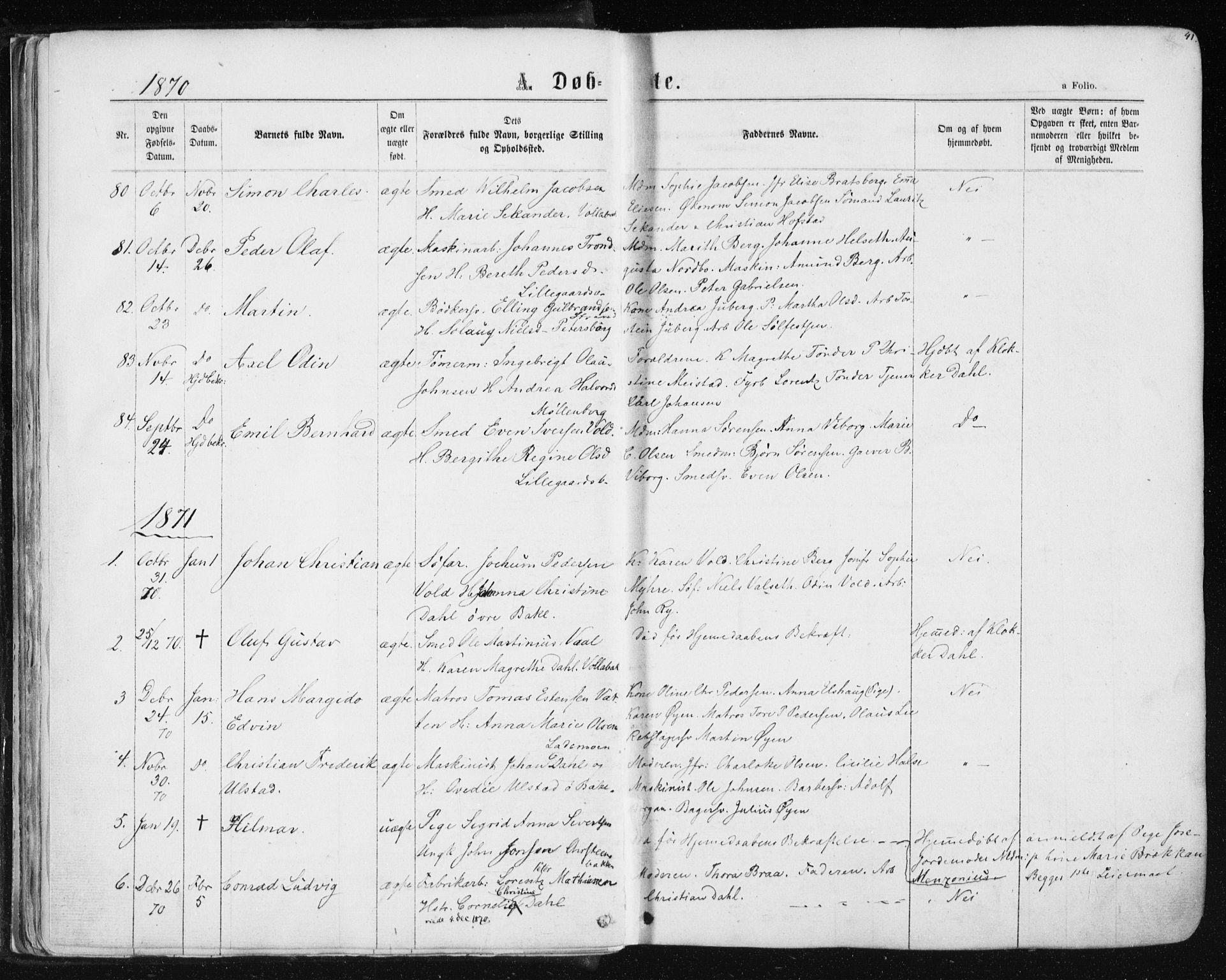 SAT, Ministerialprotokoller, klokkerbøker og fødselsregistre - Sør-Trøndelag, 604/L0186: Ministerialbok nr. 604A07, 1866-1877, s. 41