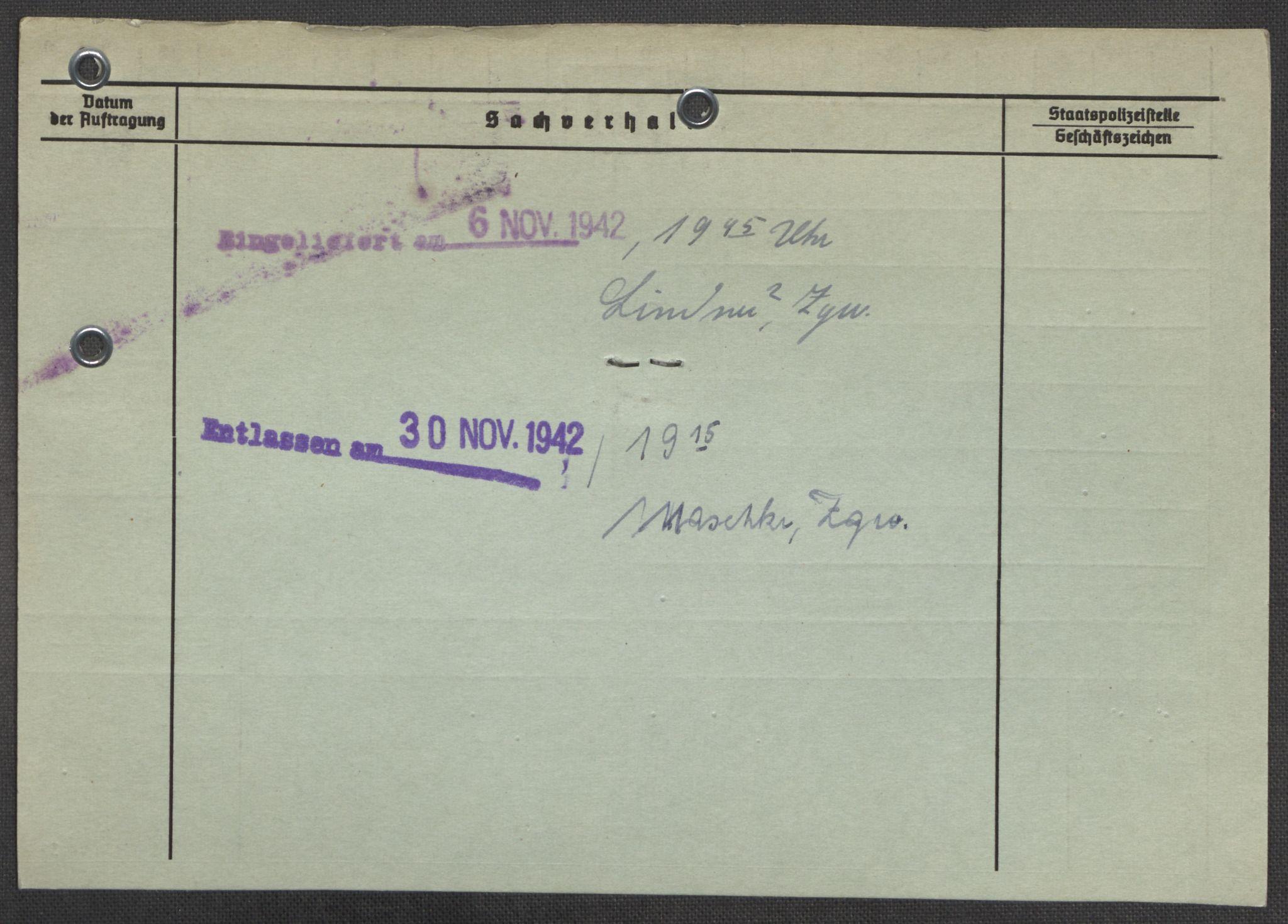 RA, Befehlshaber der Sicherheitspolizei und des SD, E/Ea/Eaa/L0007: Register over norske fanger i Møllergata 19: Lundb-N, 1940-1945, s. 935