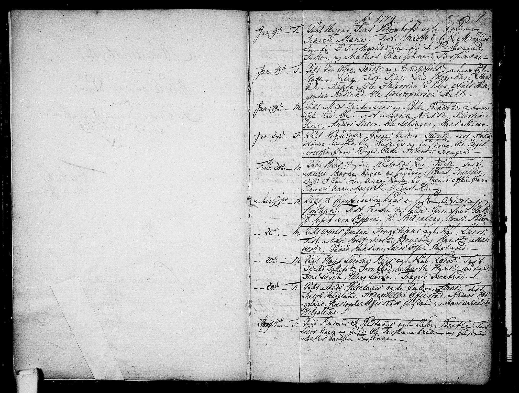 SAKO, Våle kirkebøker, F/Fa/L0005: Ministerialbok nr. I 5, 1773-1808, s. 0-1