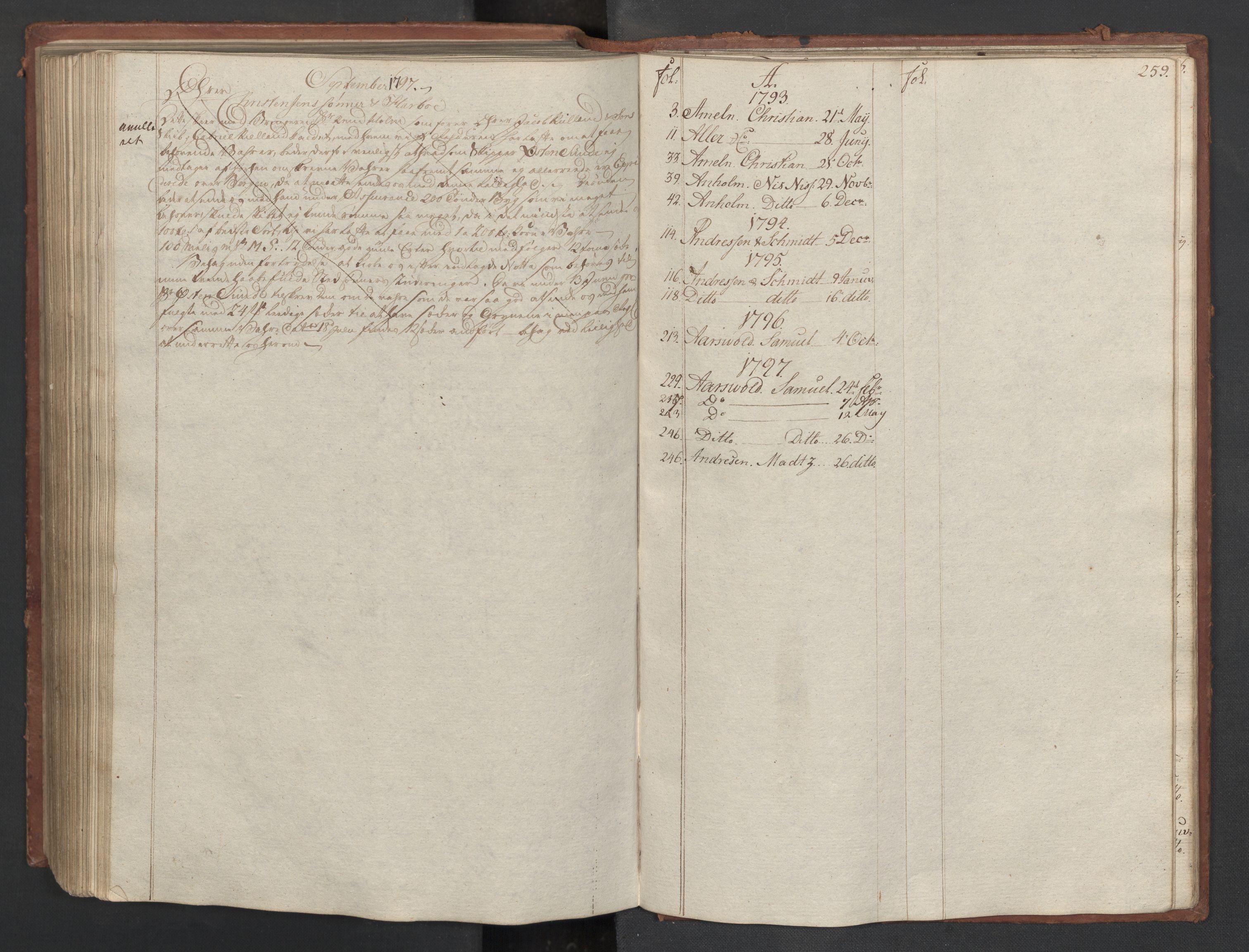 SAST, Pa 0003 - Ploug & Sundt, handelshuset, B/L0007: Kopibok, 1793-1797, s. 258b-259a