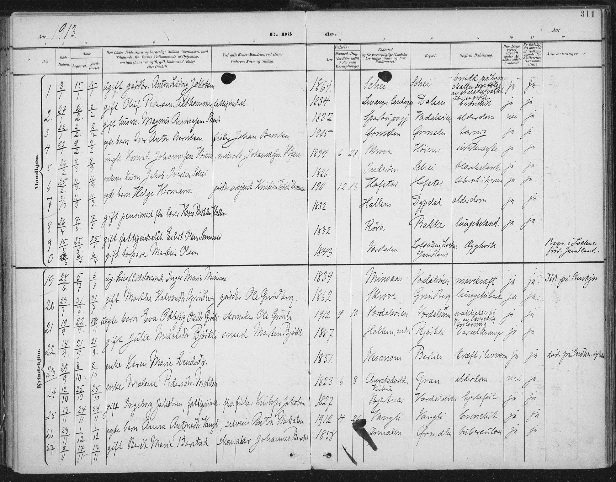 SAT, Ministerialprotokoller, klokkerbøker og fødselsregistre - Nord-Trøndelag, 723/L0246: Ministerialbok nr. 723A15, 1900-1917, s. 311