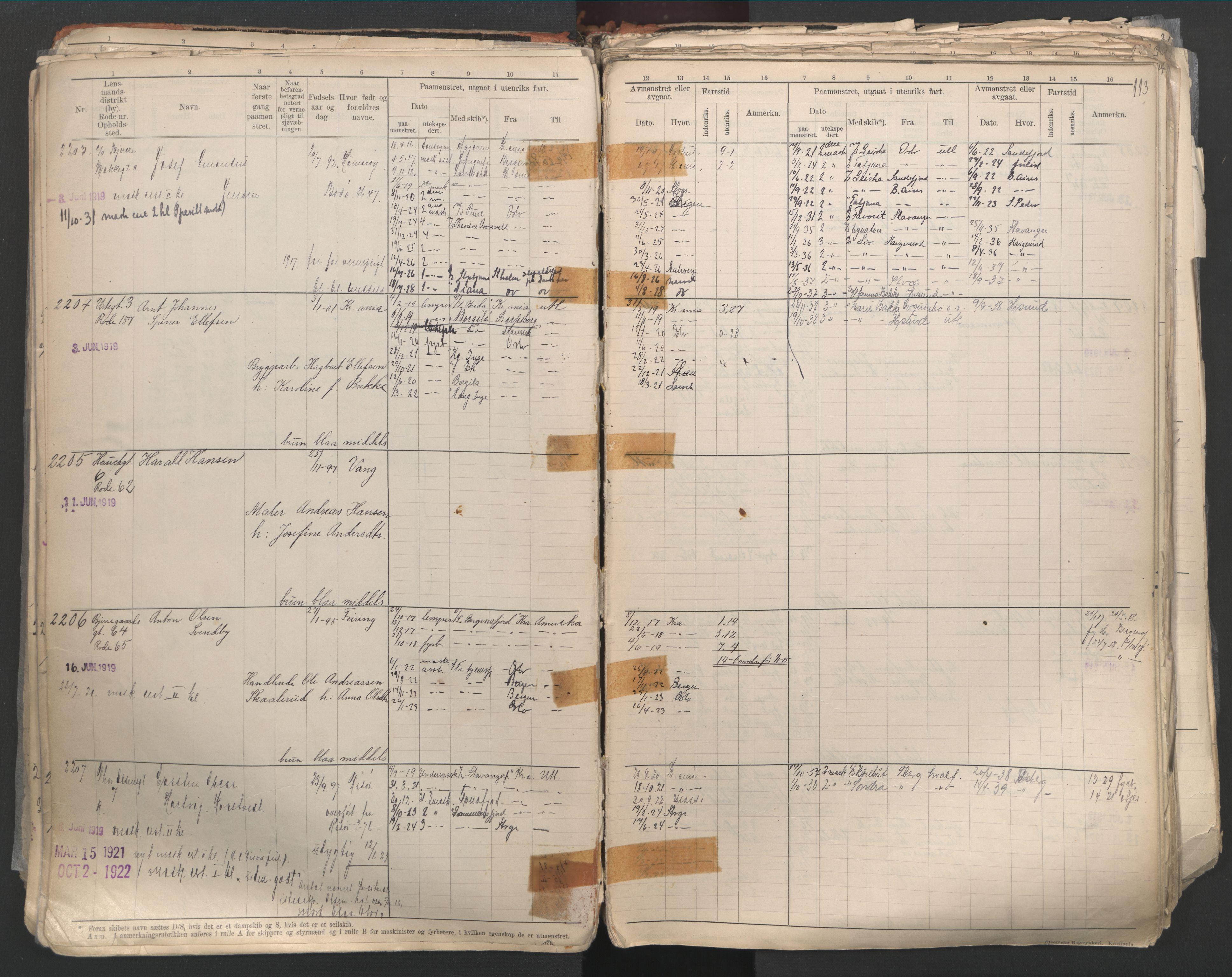 SAO, Oslo sjømannskontor, F/Fd/L0003: B-rulle, 1916, s. 112b-113a
