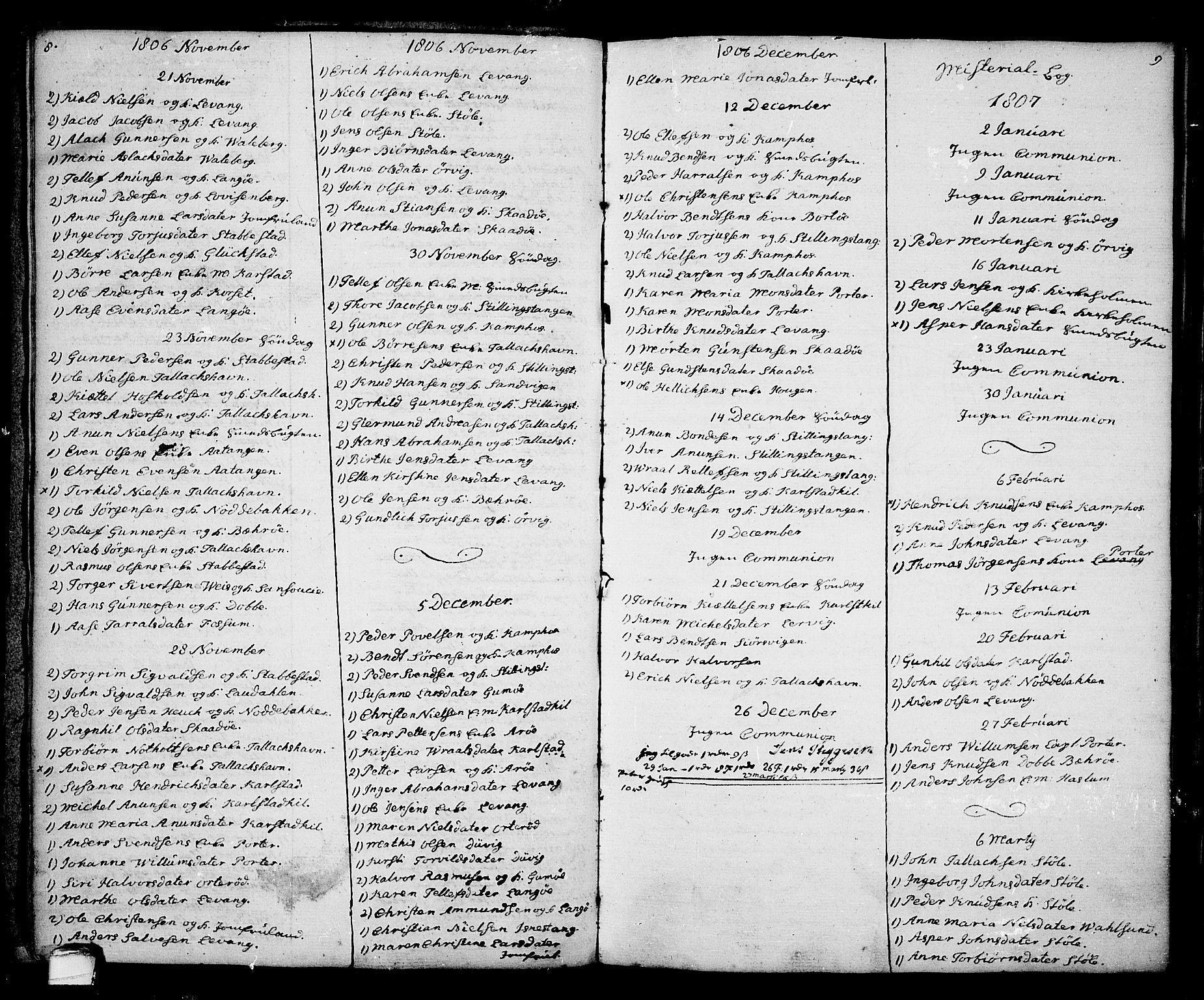 SAKO, Kragerø kirkebøker, G/Ga/L0001: Klokkerbok nr. 1 /2, 1806-1811, s. 8-9