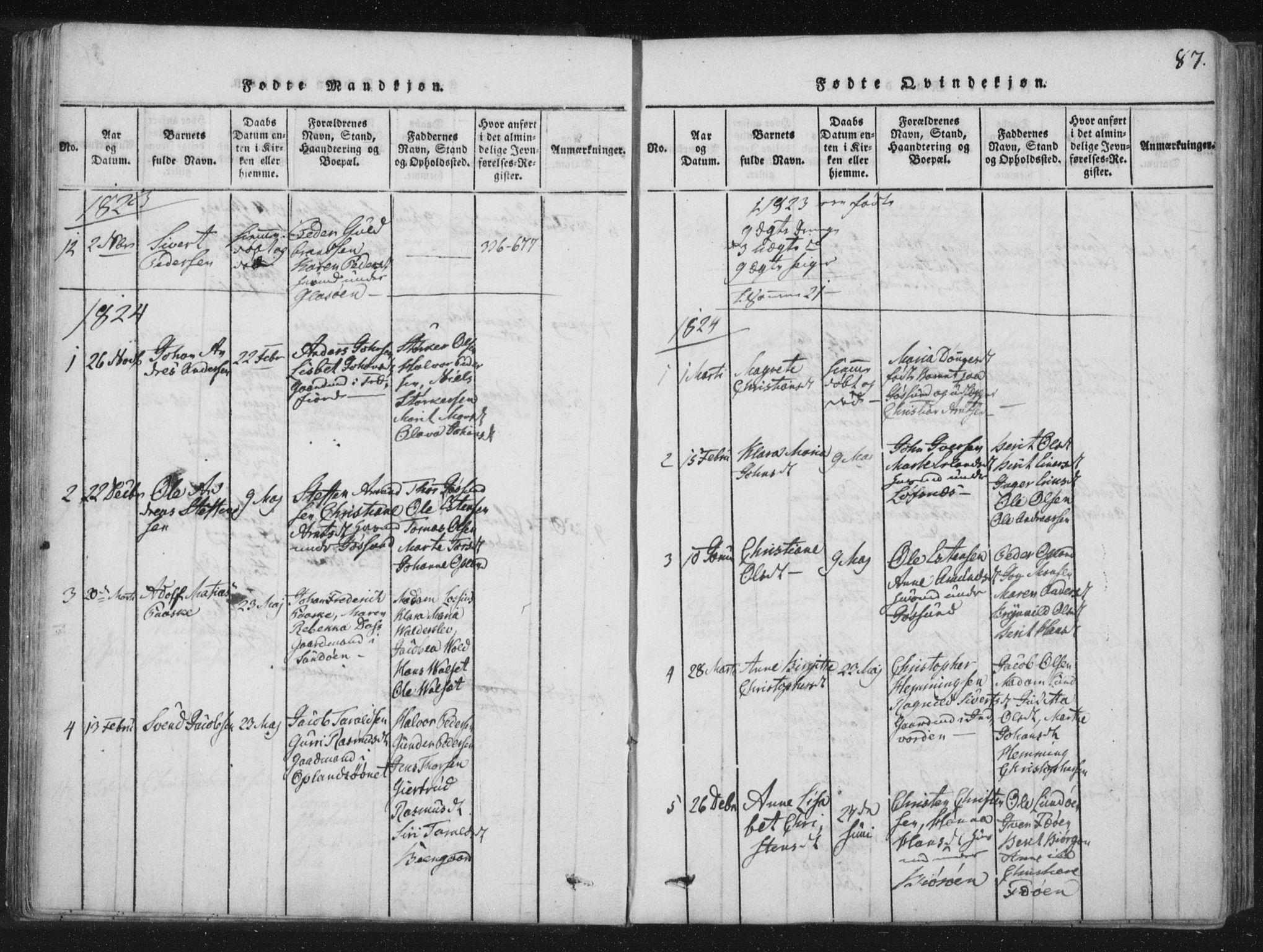 SAT, Ministerialprotokoller, klokkerbøker og fødselsregistre - Nord-Trøndelag, 773/L0609: Ministerialbok nr. 773A03 /3, 1815-1830, s. 87