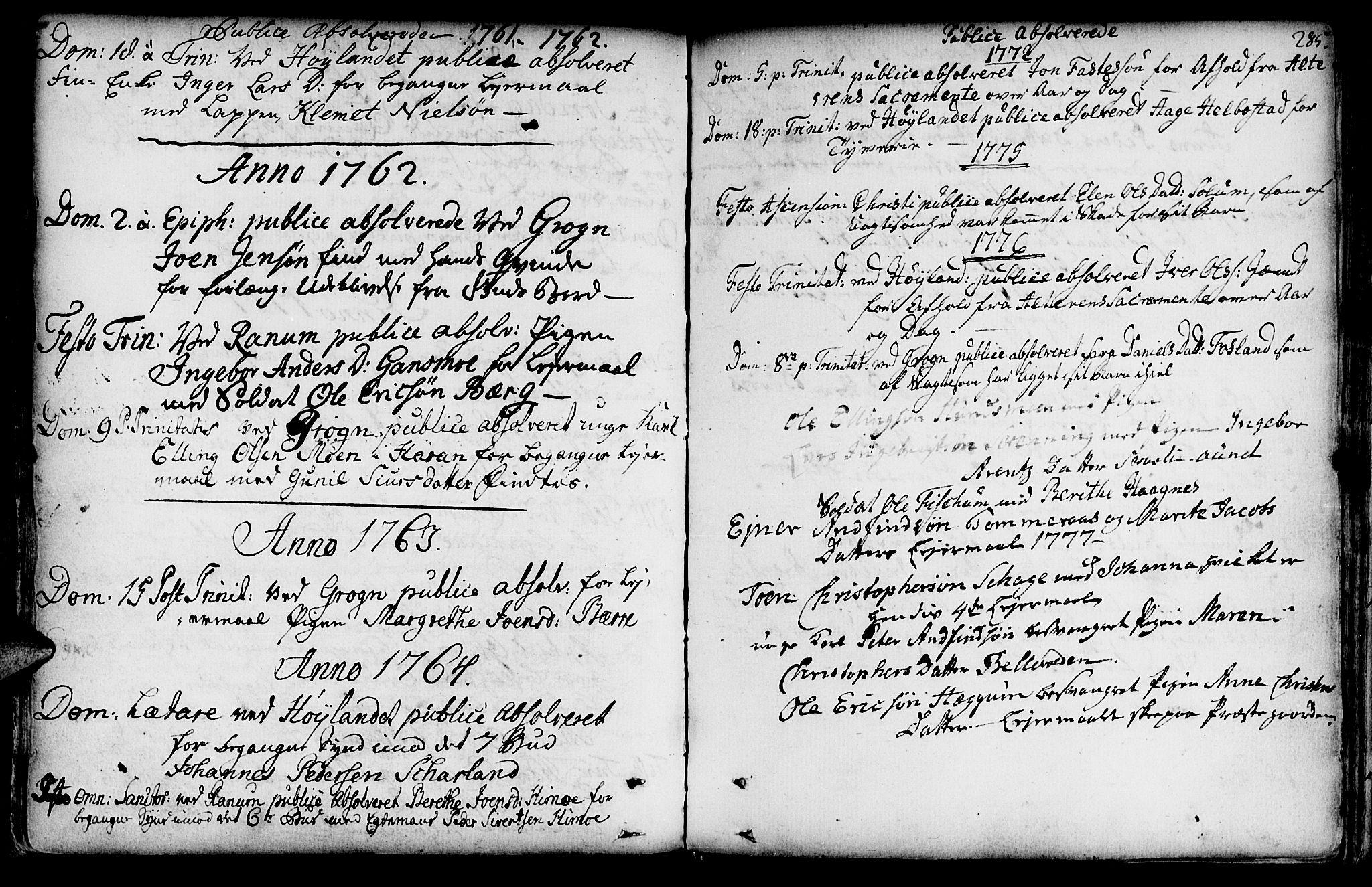 SAT, Ministerialprotokoller, klokkerbøker og fødselsregistre - Nord-Trøndelag, 764/L0542: Ministerialbok nr. 764A02, 1748-1779, s. 285