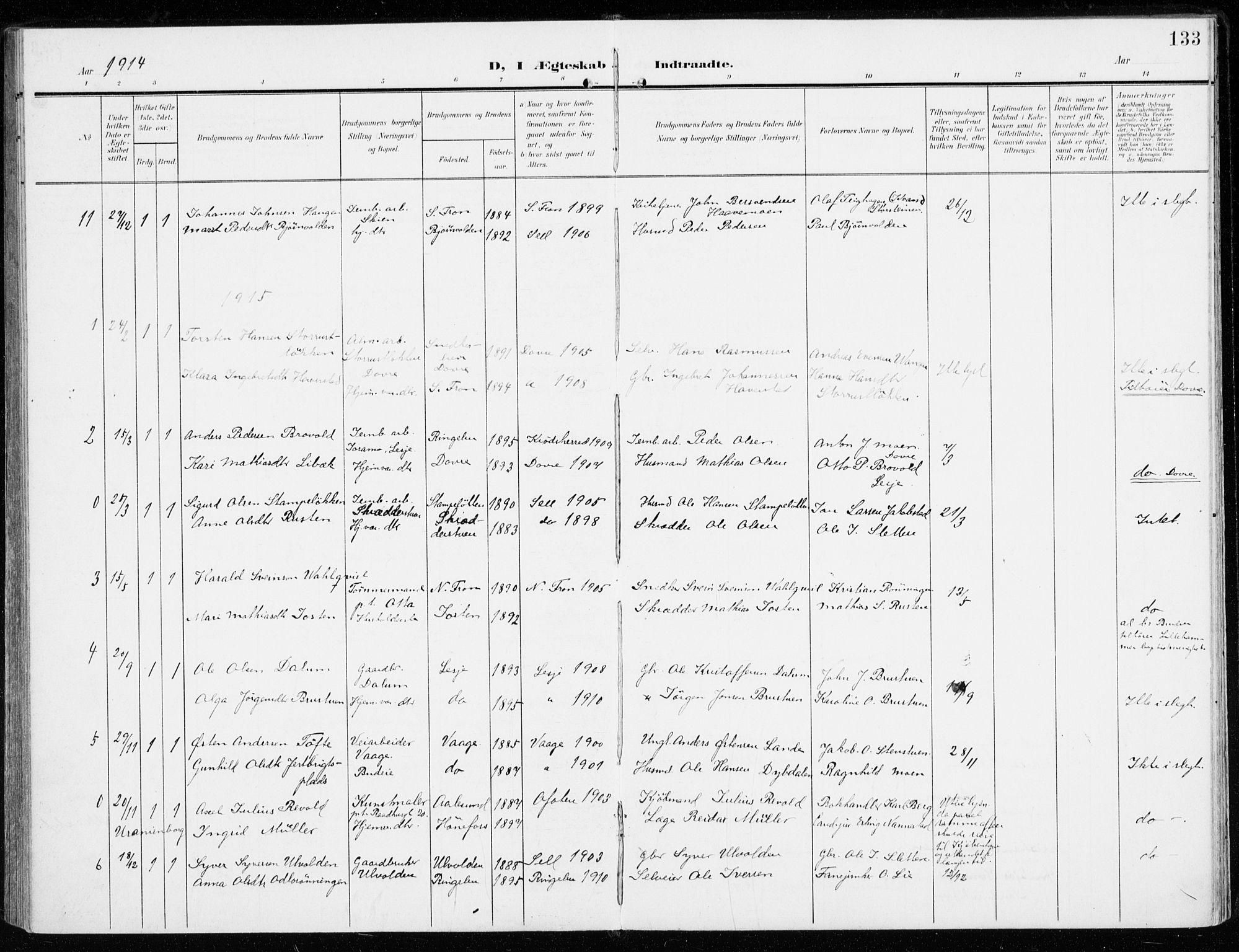 SAH, Sel prestekontor, Ministerialbok nr. 2, 1905-1919, s. 133