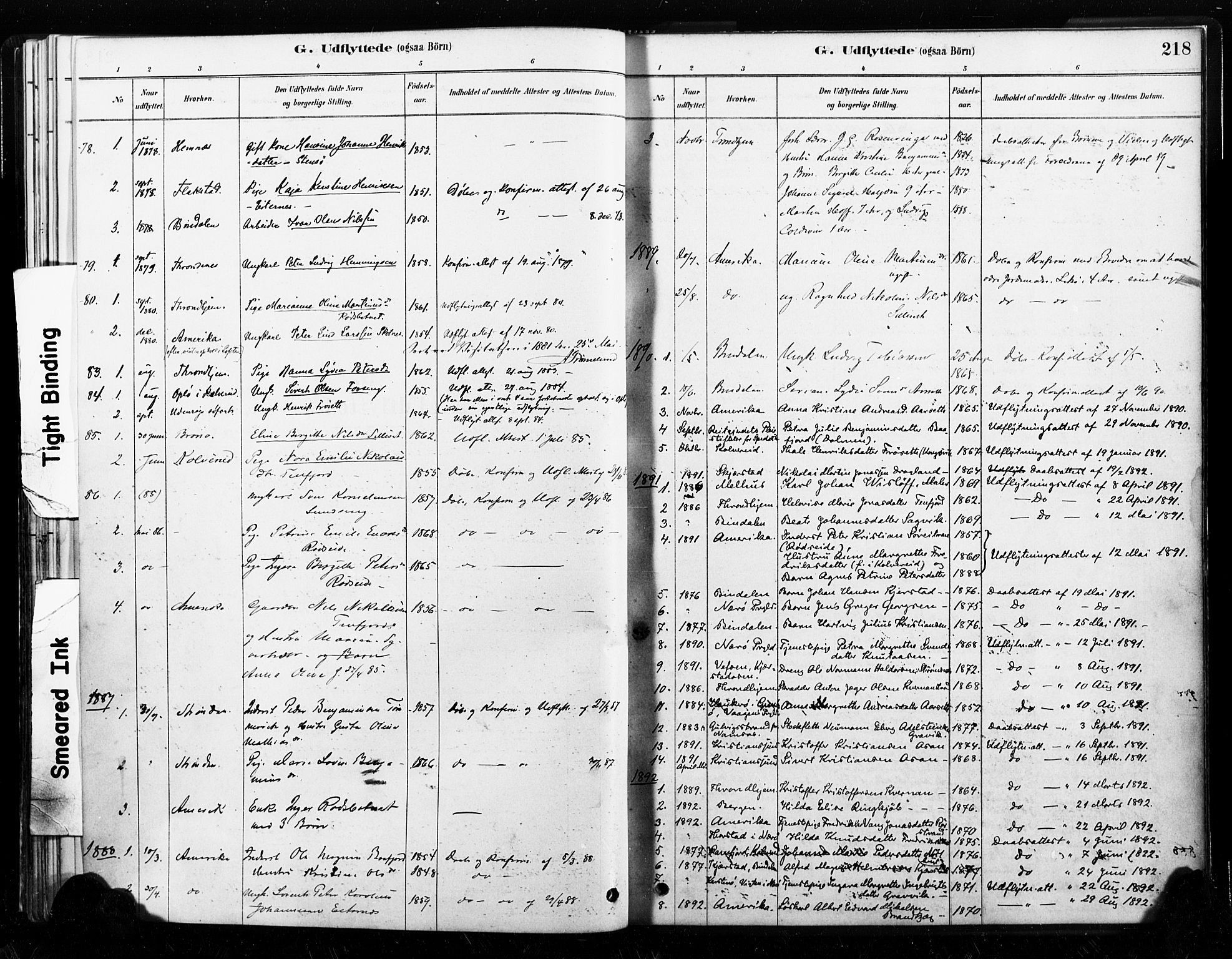 SAT, Ministerialprotokoller, klokkerbøker og fødselsregistre - Nord-Trøndelag, 789/L0705: Ministerialbok nr. 789A01, 1878-1910, s. 218