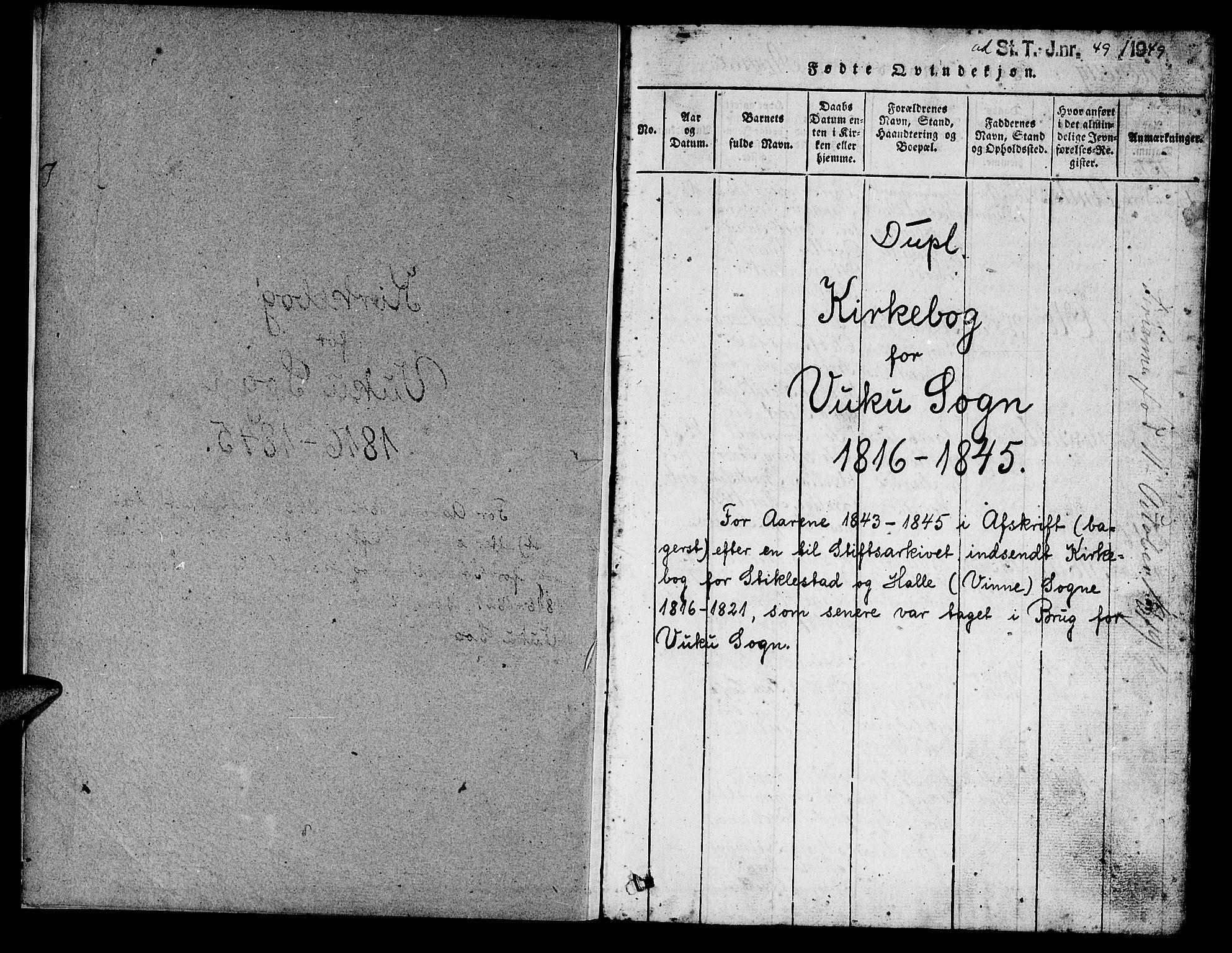 SAT, Ministerialprotokoller, klokkerbøker og fødselsregistre - Nord-Trøndelag, 724/L0265: Klokkerbok nr. 724C01, 1816-1845, s. 1