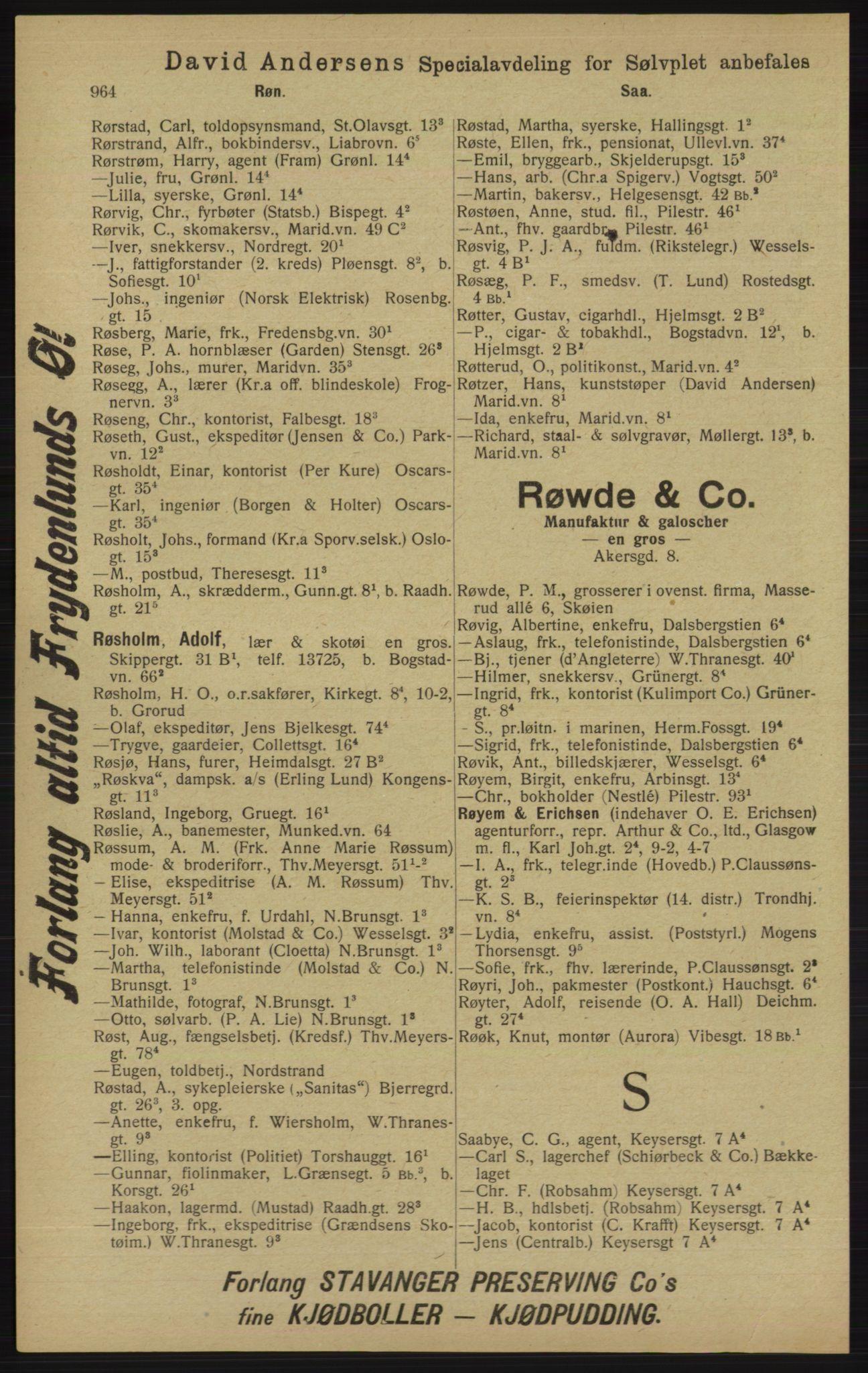 RA, Kristiania adressebok (publikasjon)*, 1913, s. 964