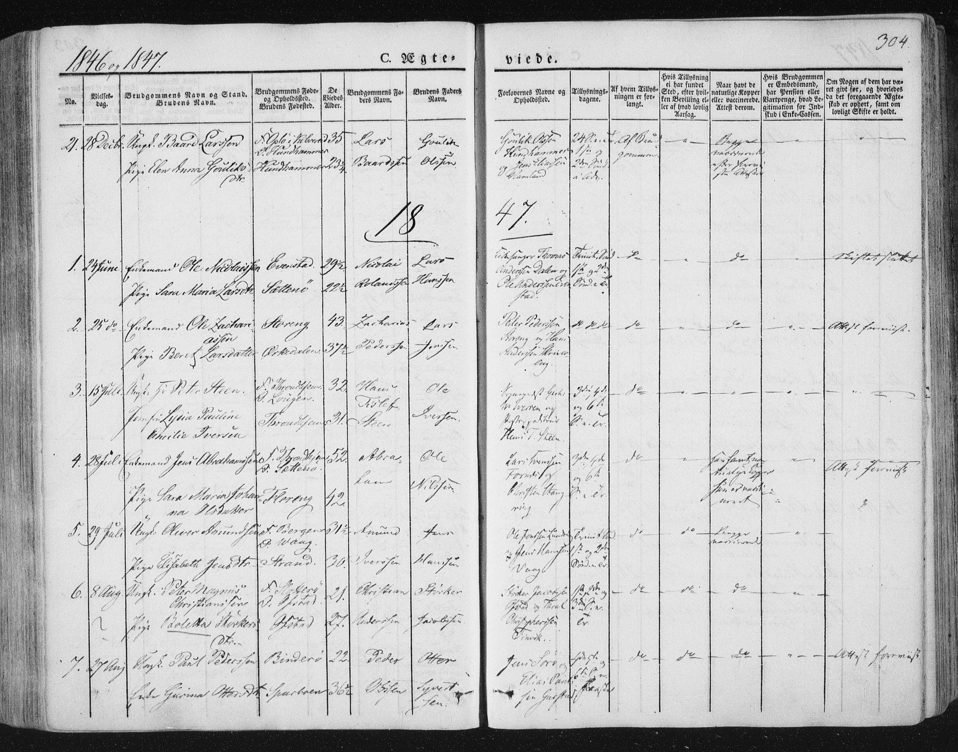 SAT, Ministerialprotokoller, klokkerbøker og fødselsregistre - Nord-Trøndelag, 784/L0669: Ministerialbok nr. 784A04, 1829-1859, s. 304