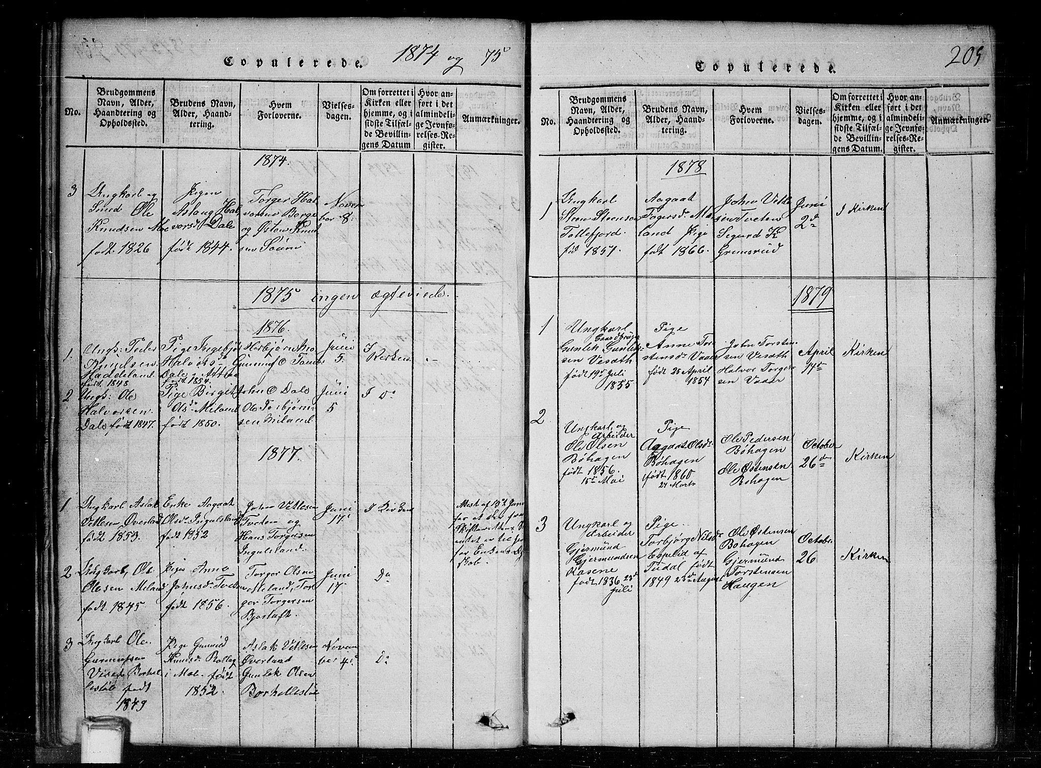 SAKO, Tinn kirkebøker, G/Gc/L0001: Klokkerbok nr. III 1, 1815-1879, s. 205
