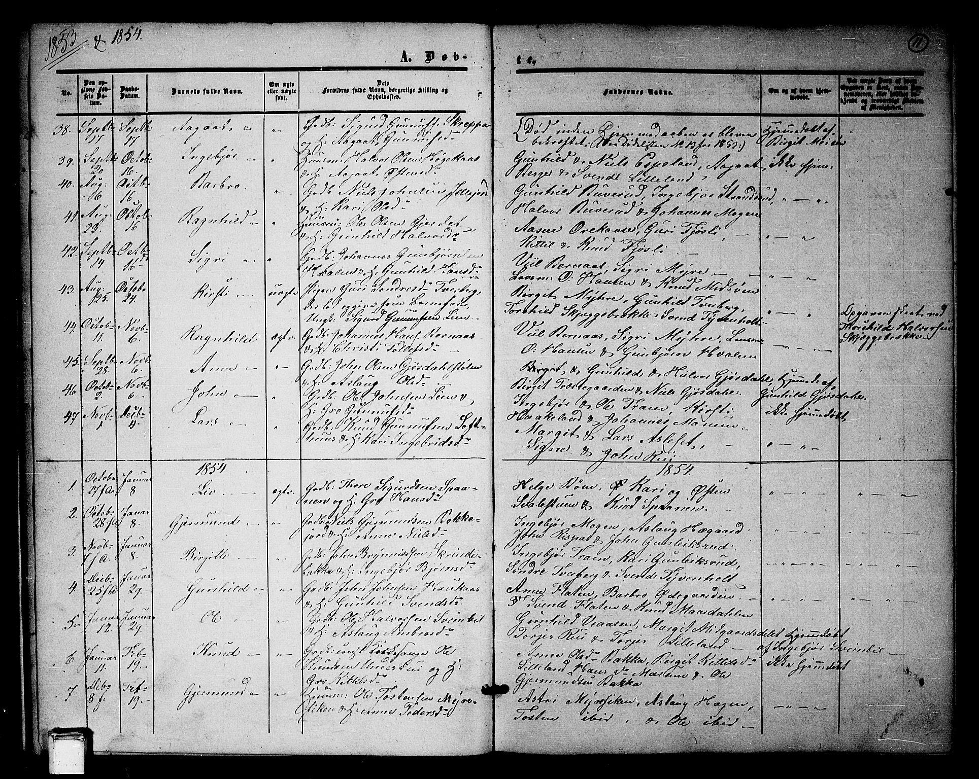 SAKO, Tinn kirkebøker, G/Ga/L0002: Klokkerbok nr. I 2, 1851-1883, s. 11