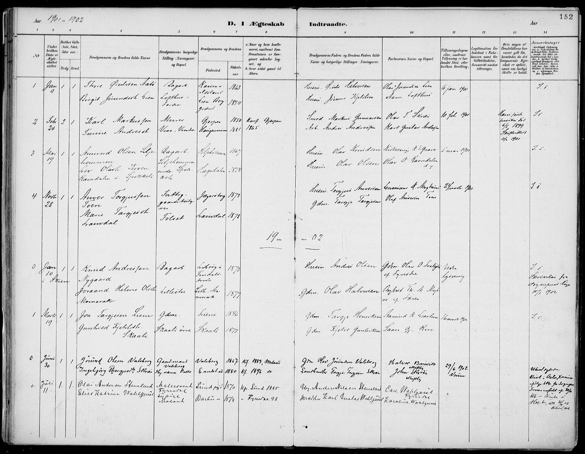 SAKO, Fyresdal kirkebøker, F/Fa/L0007: Ministerialbok nr. I 7, 1887-1914, s. 152