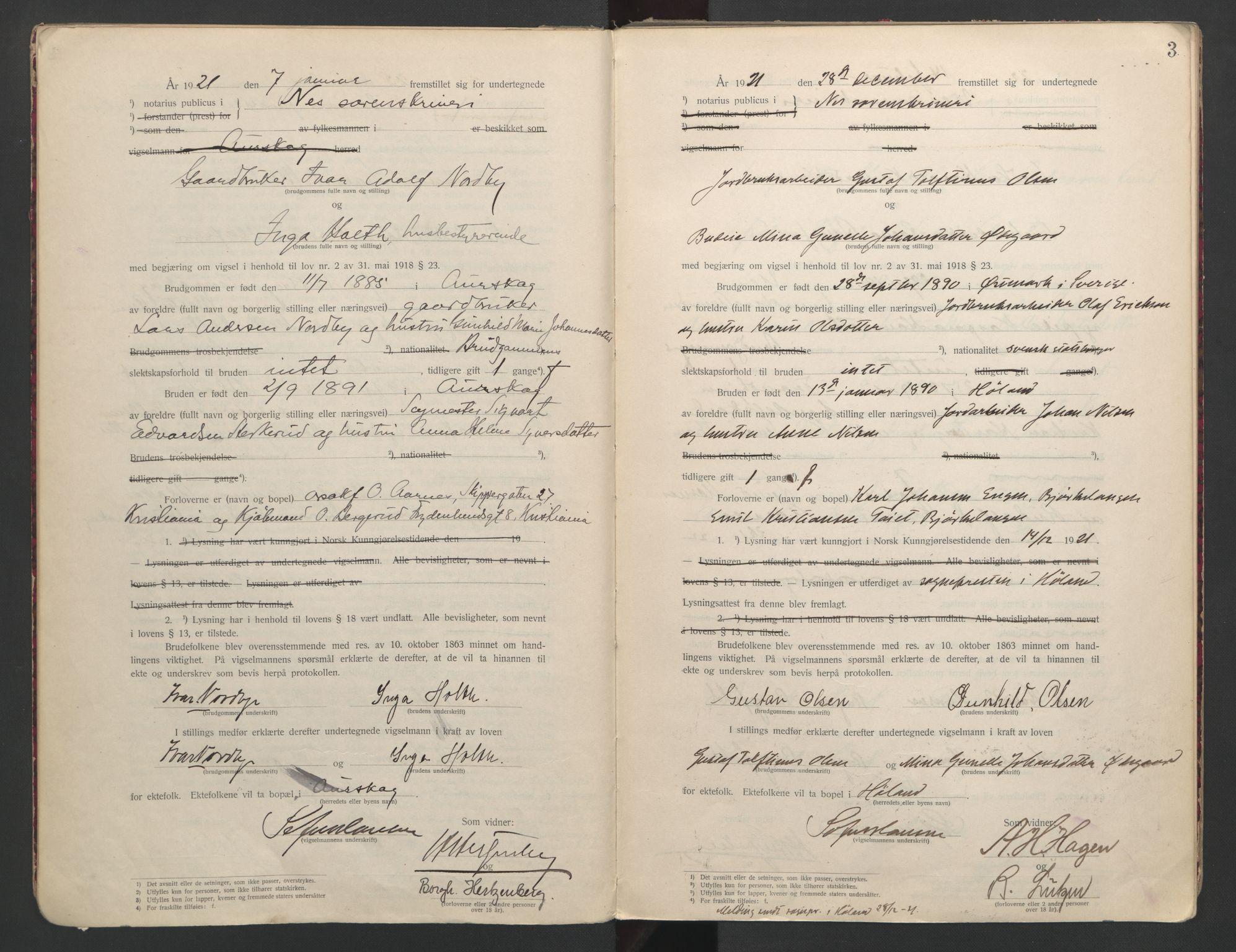 SAO, Nes tingrett, L/Lc/Lca/L0001: Vigselbok, 1920-1943, s. 3