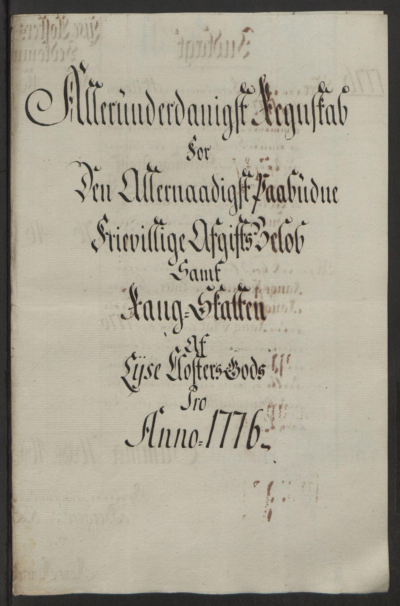 RA, Rentekammeret inntil 1814, Reviderte regnskaper, Fogderegnskap, R50/L3180: Ekstraskatten Lyse kloster, 1762-1783, s. 380