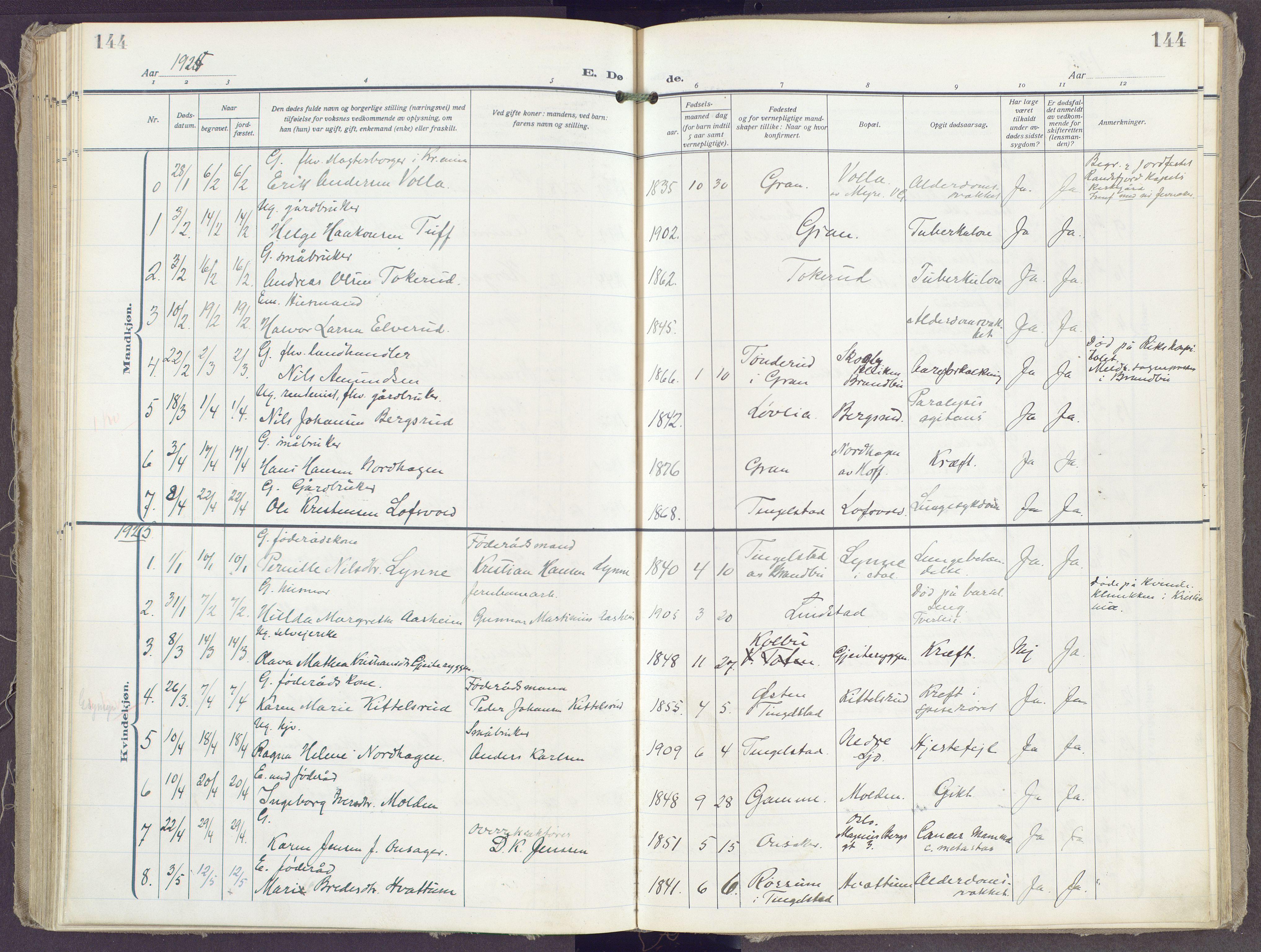 SAH, Gran prestekontor, Ministerialbok nr. 23, 1919-1938, s. 144