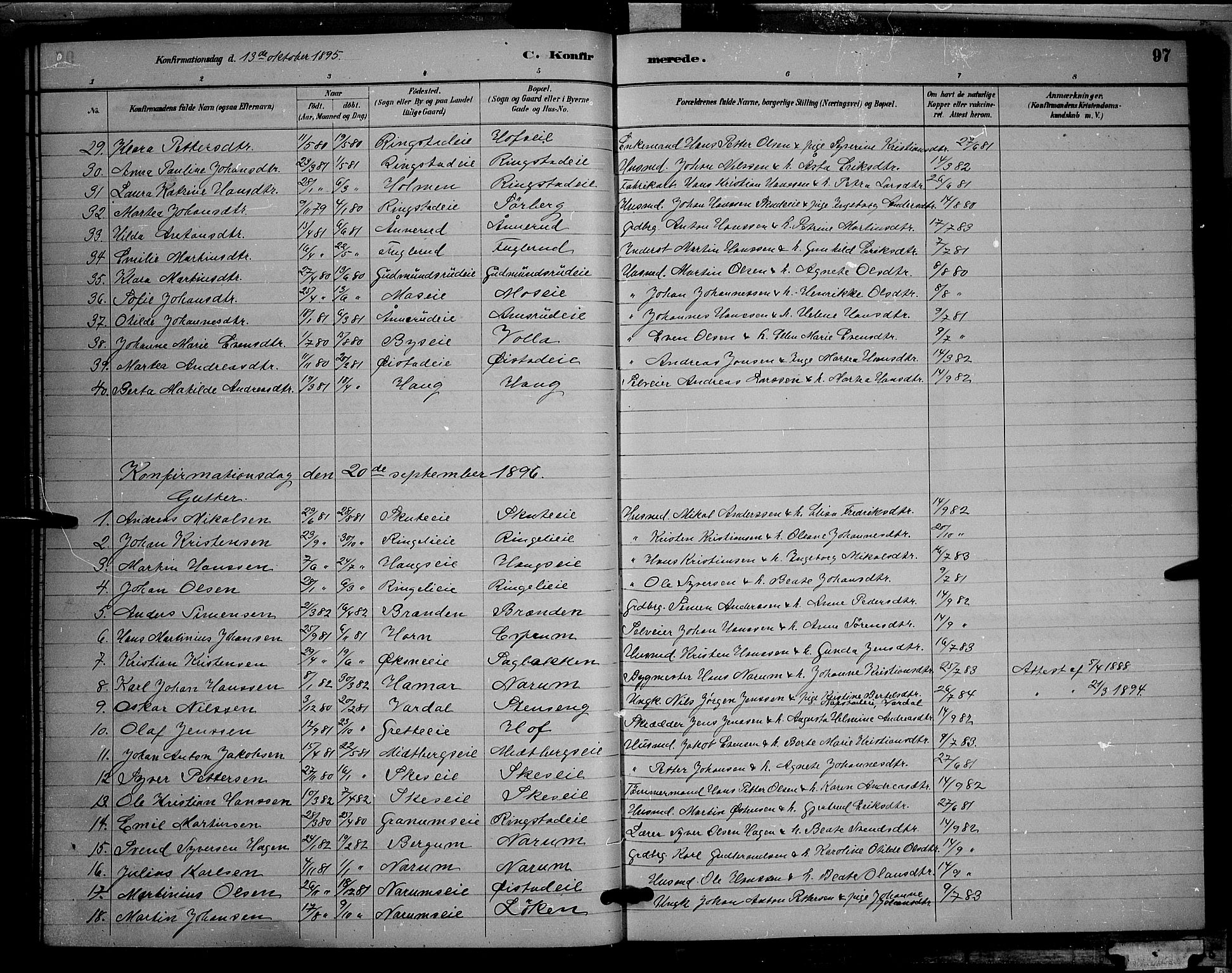SAH, Søndre Land prestekontor, L/L0002: Klokkerbok nr. 2, 1884-1900, s. 97