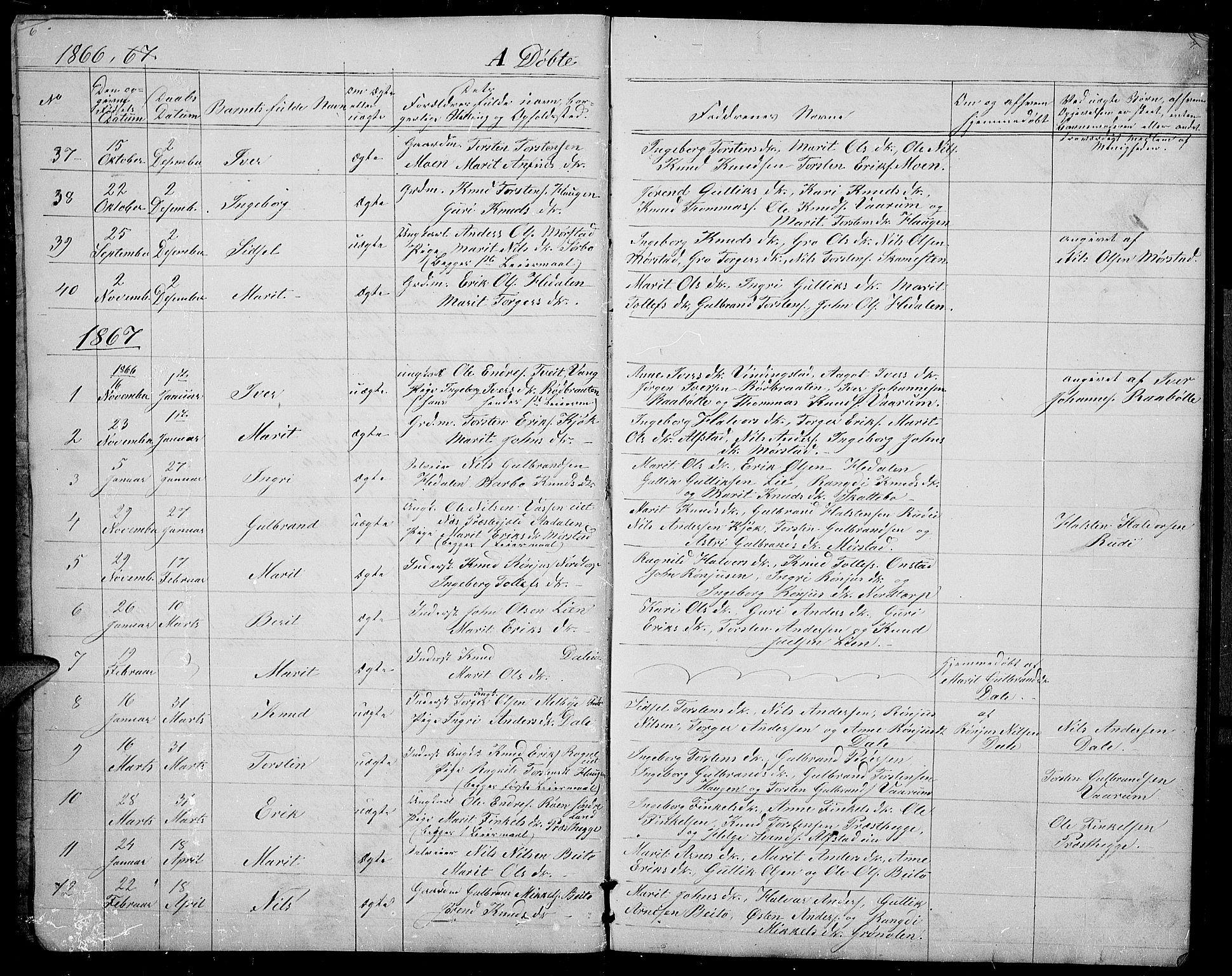 SAH, Øystre Slidre prestekontor, Klokkerbok nr. 1, 1866-1886, s. 6-7