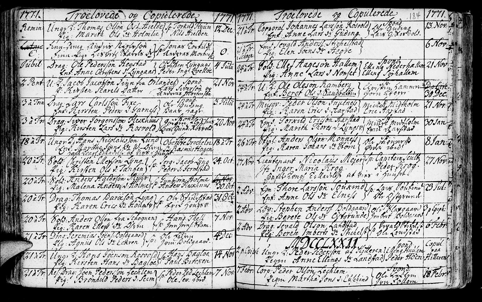 SAT, Ministerialprotokoller, klokkerbøker og fødselsregistre - Nord-Trøndelag, 723/L0231: Ministerialbok nr. 723A02, 1748-1780, s. 184