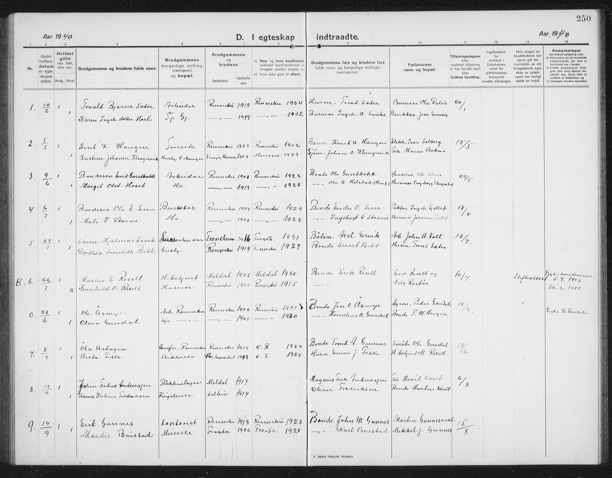 SAT, Ministerialprotokoller, klokkerbøker og fødselsregistre - Sør-Trøndelag, 674/L0877: Klokkerbok nr. 674C04, 1913-1940, s. 250