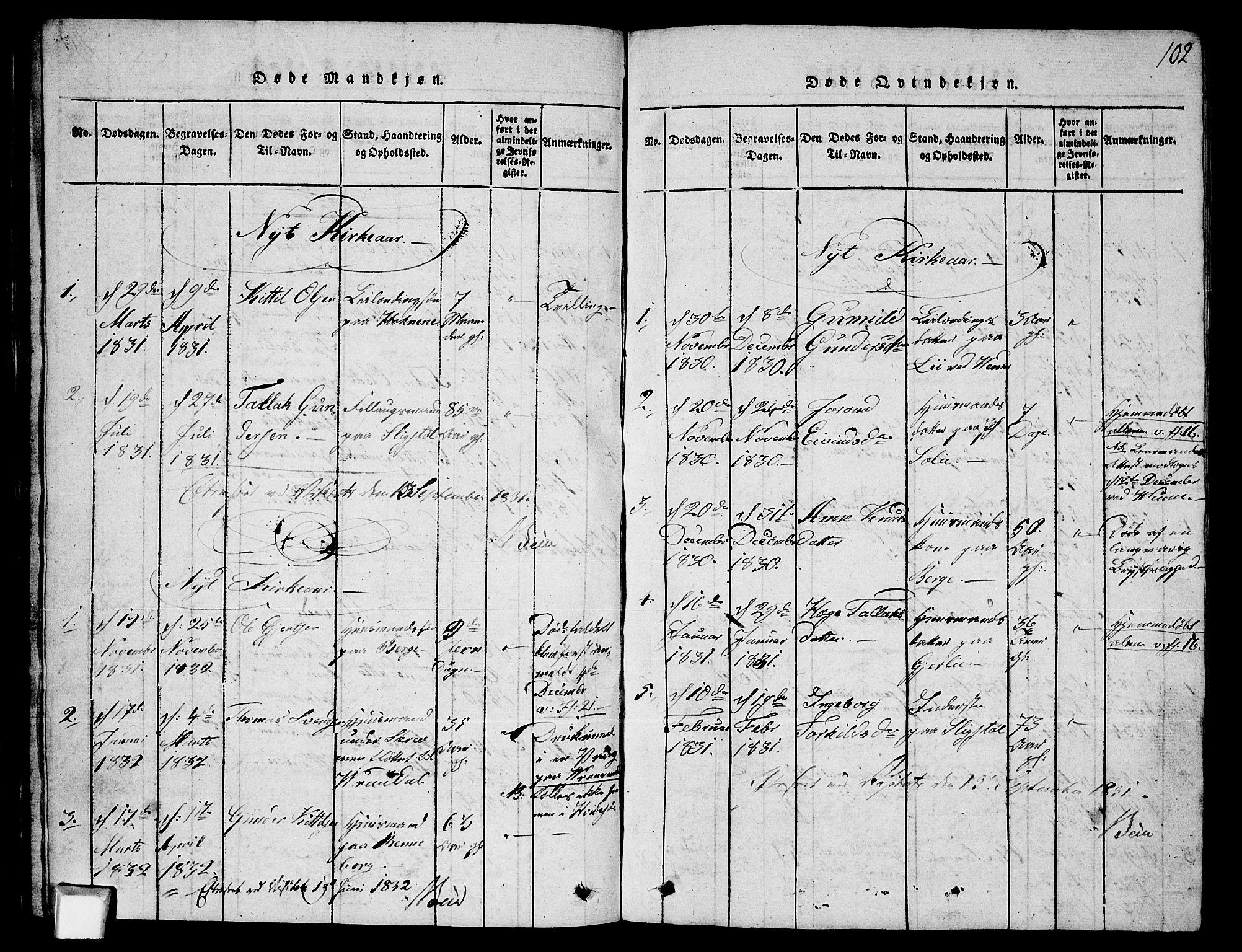 SAKO, Fyresdal kirkebøker, G/Ga/L0003: Klokkerbok nr. I 3, 1815-1863, s. 102