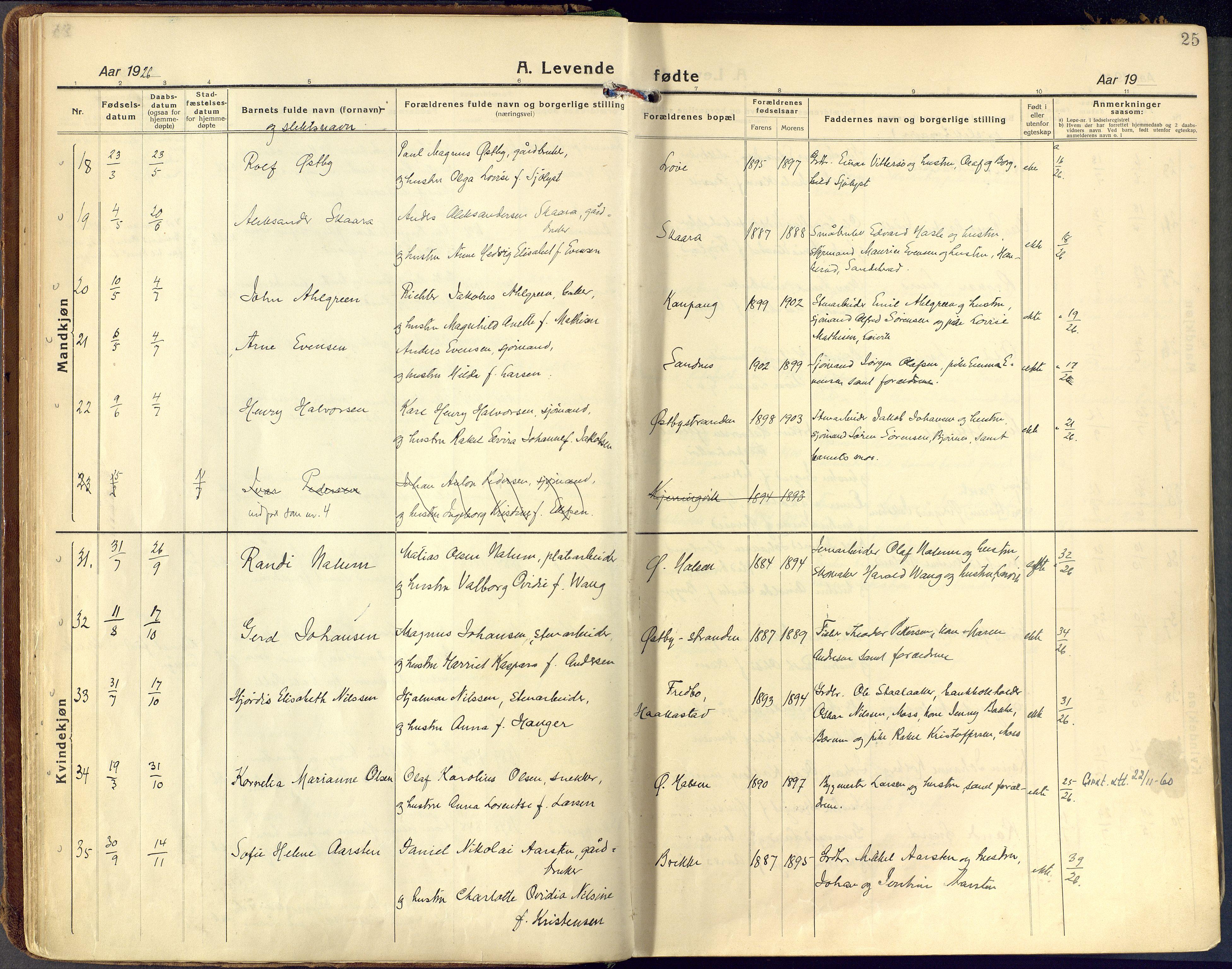 SAKO, Tjølling kirkebøker, F/Fa/L0011: Ministerialbok nr. 11, 1924-1943, s. 25
