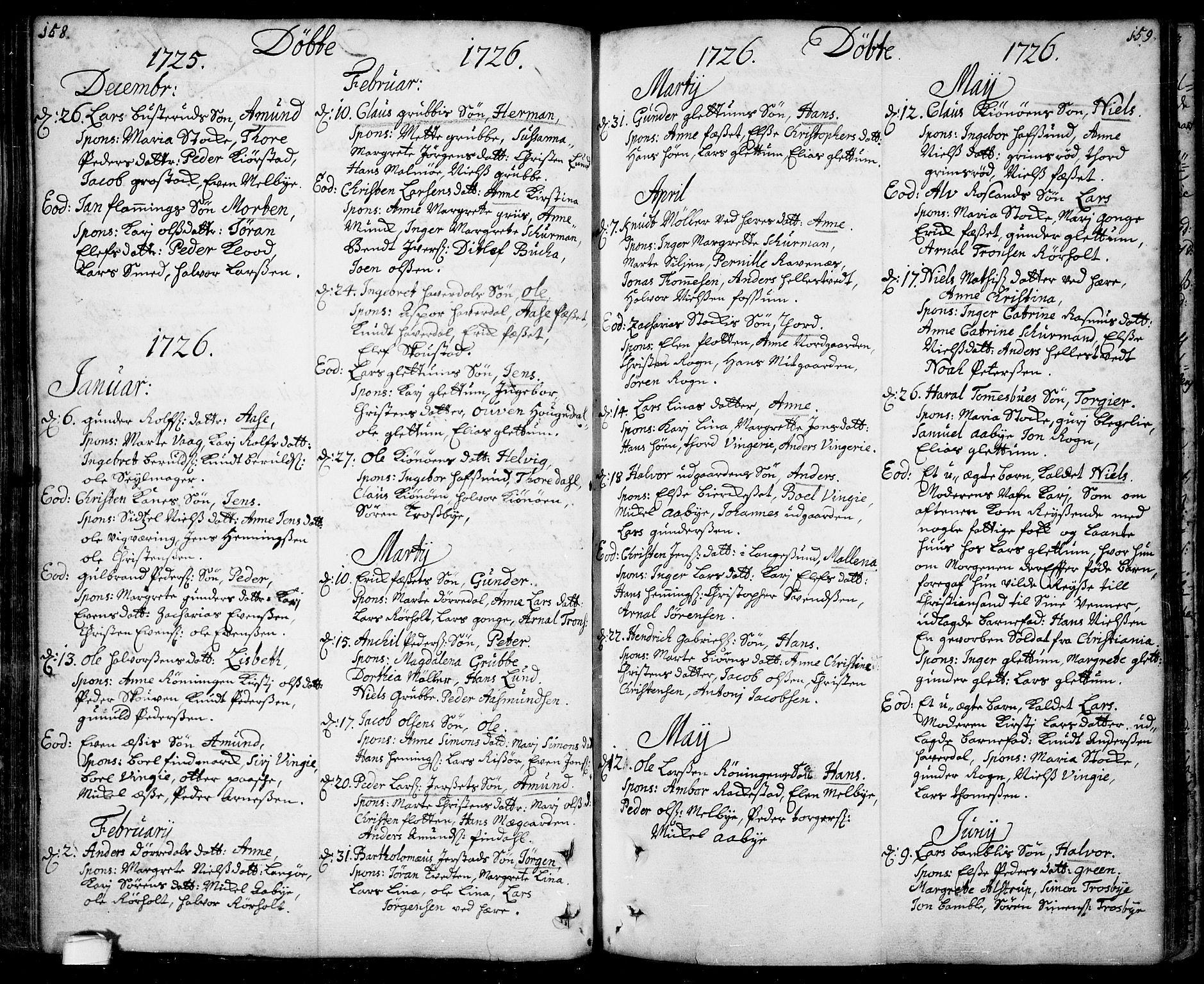 SAKO, Bamble kirkebøker, F/Fa/L0001: Ministerialbok nr. I 1, 1702-1774, s. 158-159
