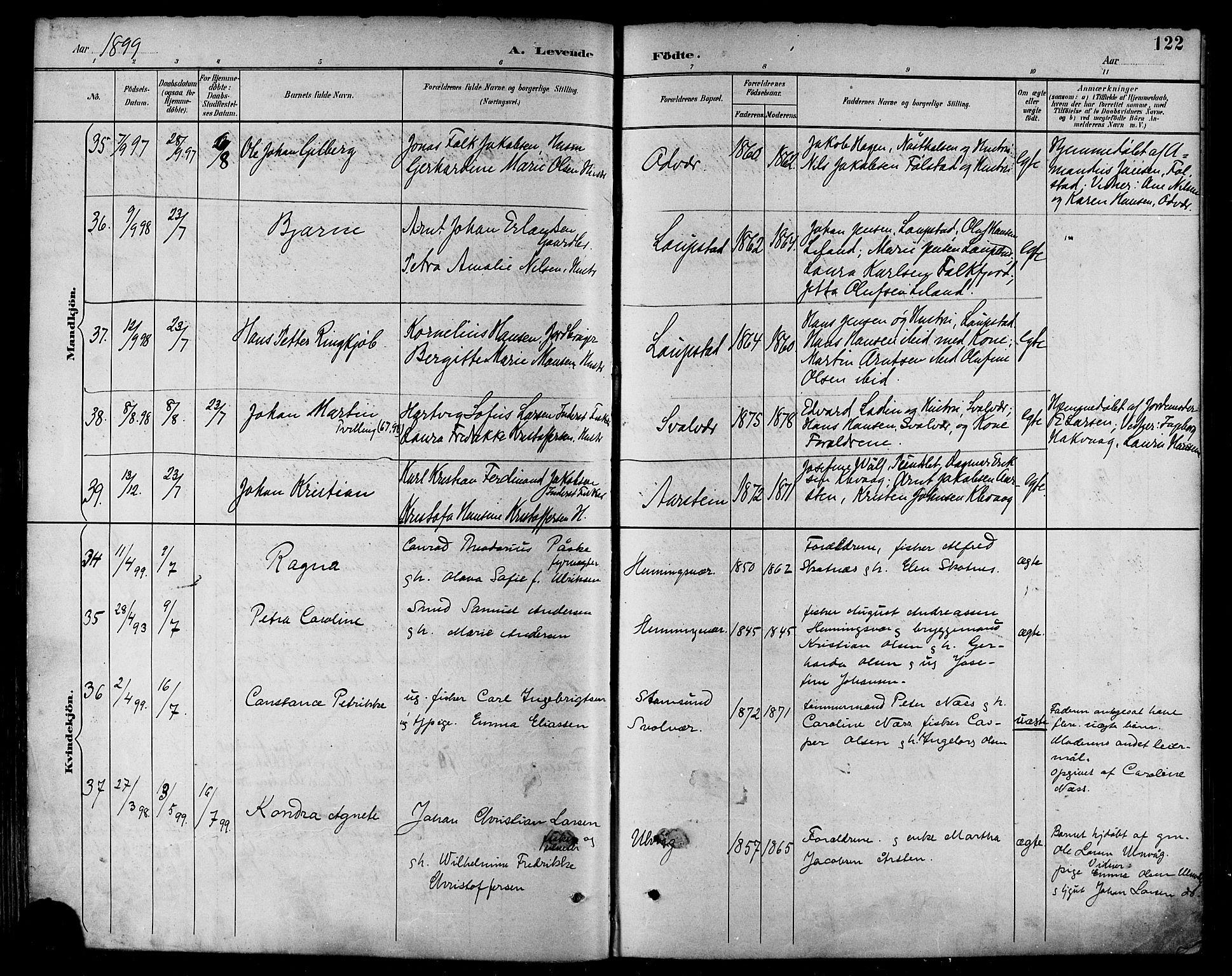 SAT, Ministerialprotokoller, klokkerbøker og fødselsregistre - Nordland, 874/L1060: Ministerialbok nr. 874A04, 1890-1899, s. 122