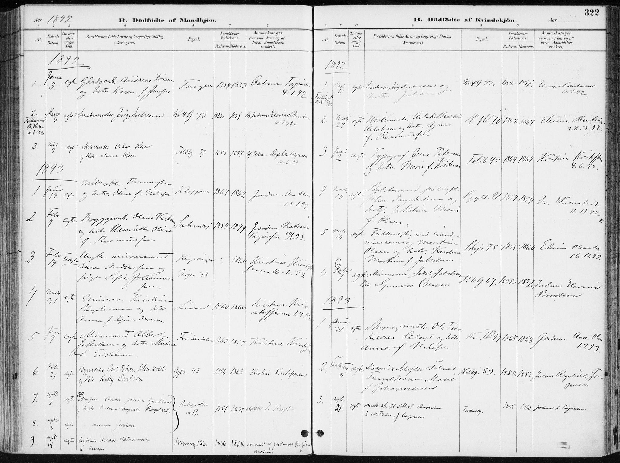 SAK, Kristiansand domprosti, F/Fa/L0019: Ministerialbok nr. A 18, 1890-1897, s. 322