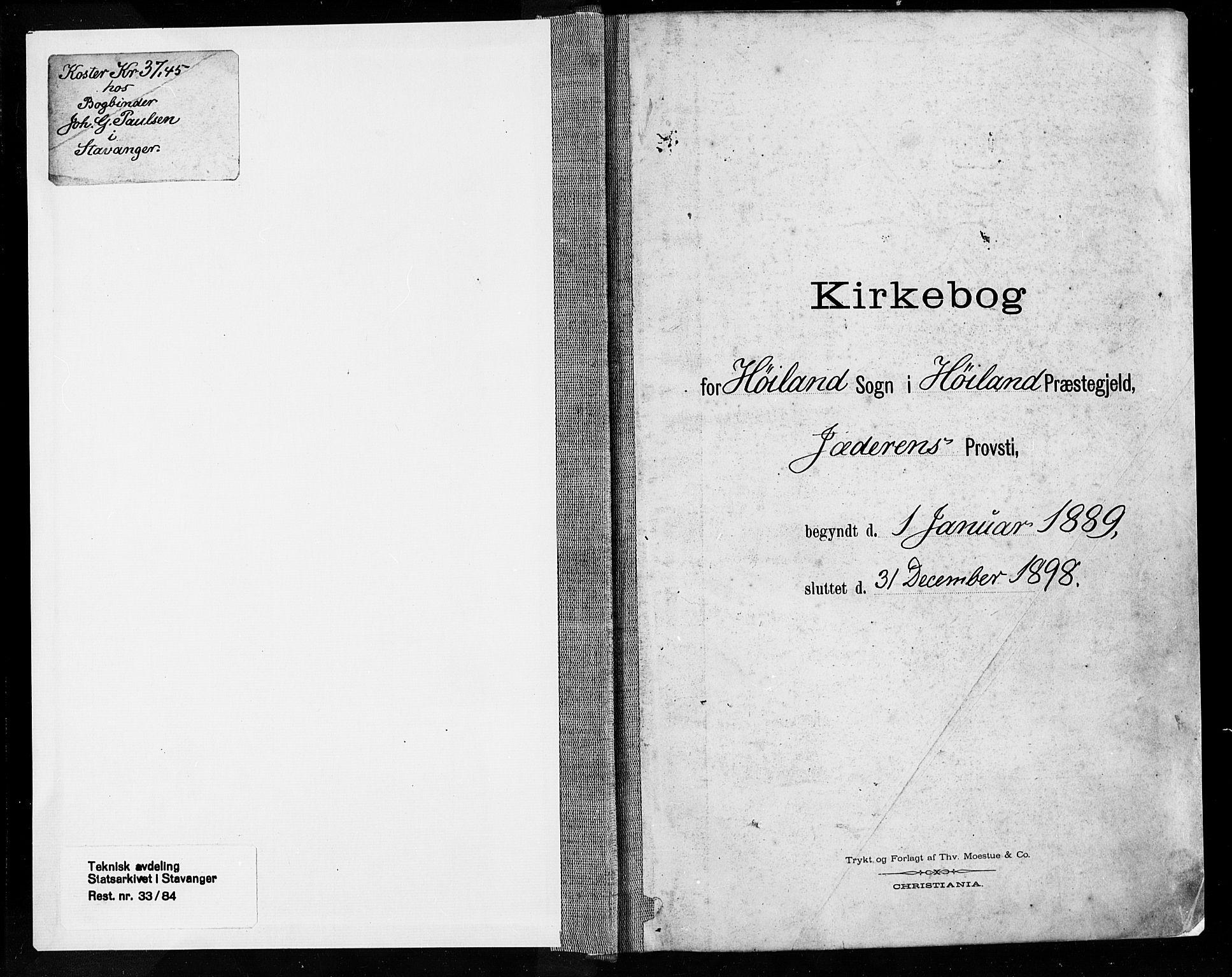 SAST, Høyland sokneprestkontor, 30BA/L0013: Ministerialbok nr. A 13.1, 1889-1898