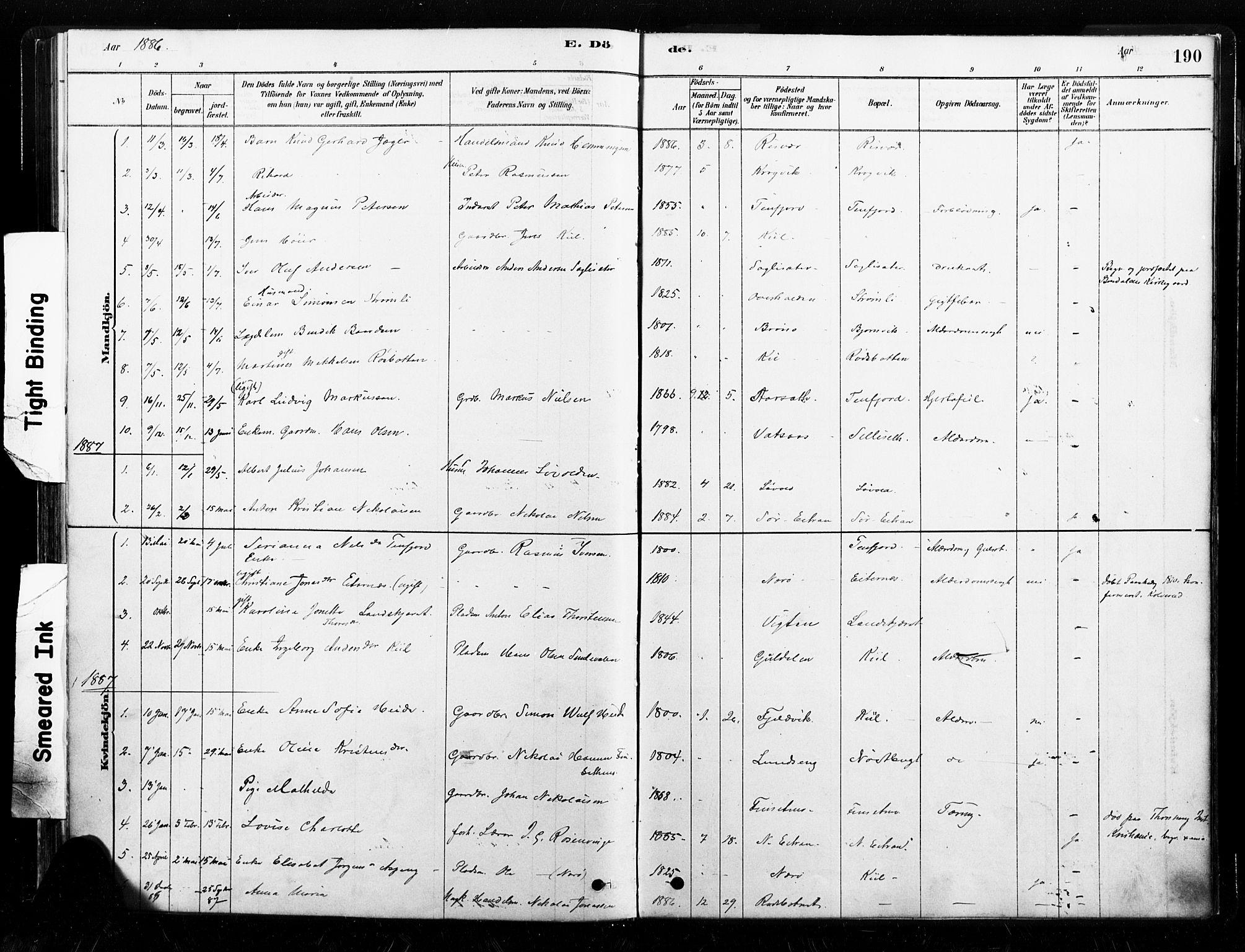 SAT, Ministerialprotokoller, klokkerbøker og fødselsregistre - Nord-Trøndelag, 789/L0705: Ministerialbok nr. 789A01, 1878-1910, s. 190